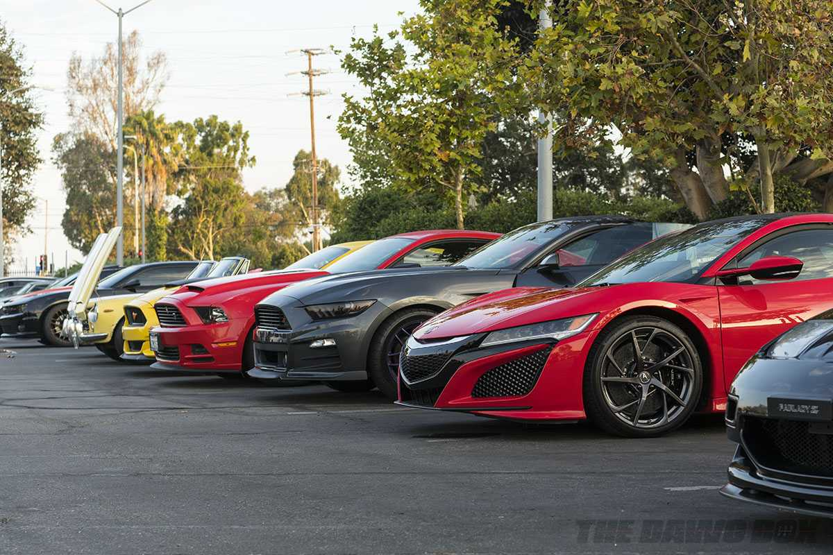 Ford Mustangs and and Honda NSX at Cars and Coffee South Bay Sunday