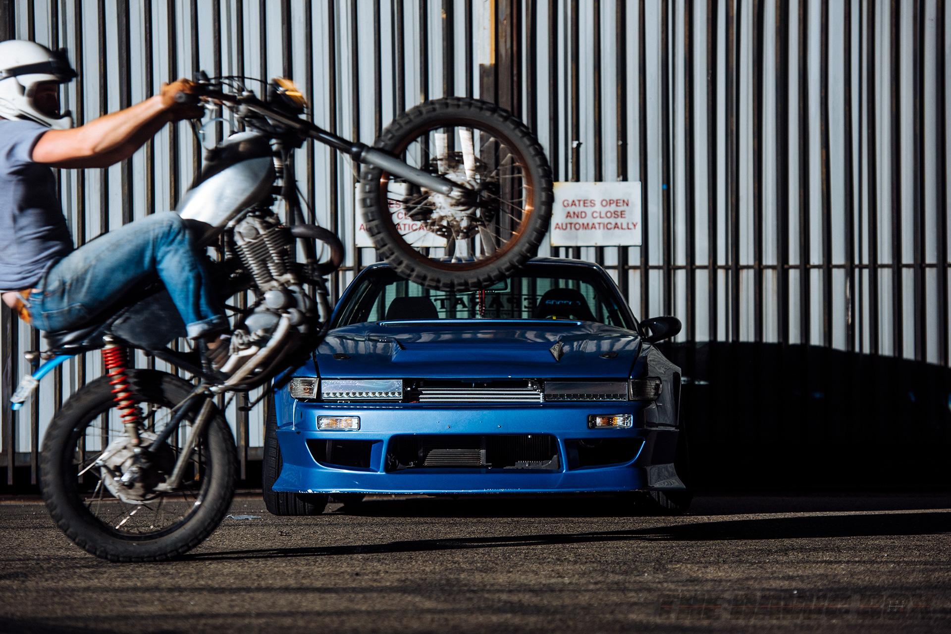 Brian Macias' 1989 Nissan Blue 240SX S13 Coupe, Wheelie