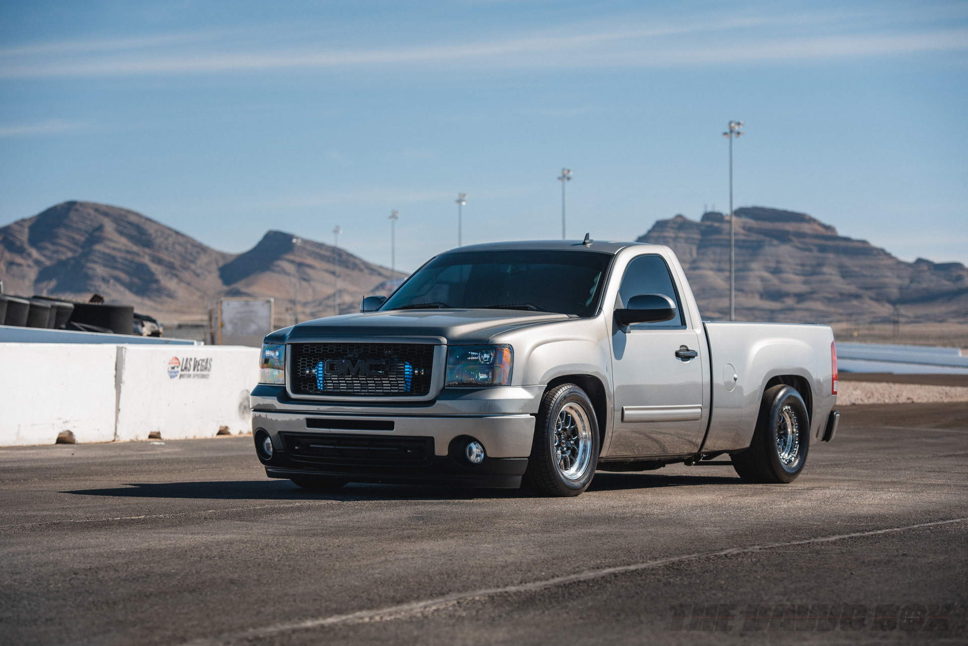 Custom Grey GMC pickup truck