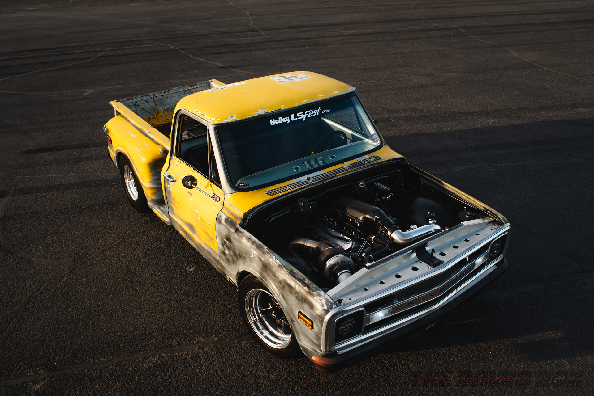 yellow Chevy c10 Pickup truck at LS Fest West 2018