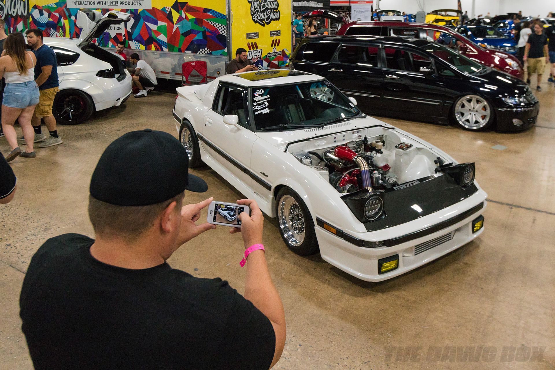 white mazda fc rx7 at tuner evolution philly