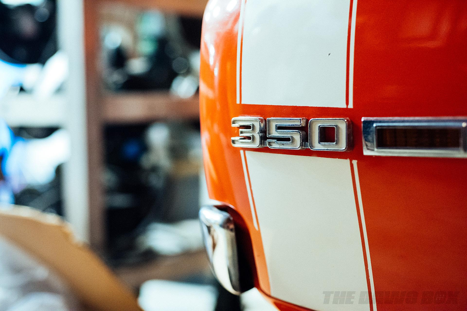detail shot of Curt Hill's '69 Chevrolet Camaro SS badging