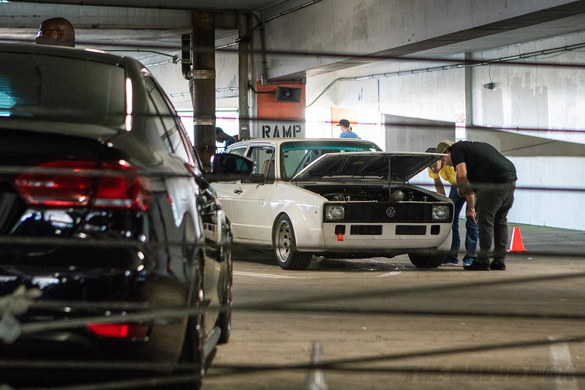 White Volkswagen in the garage