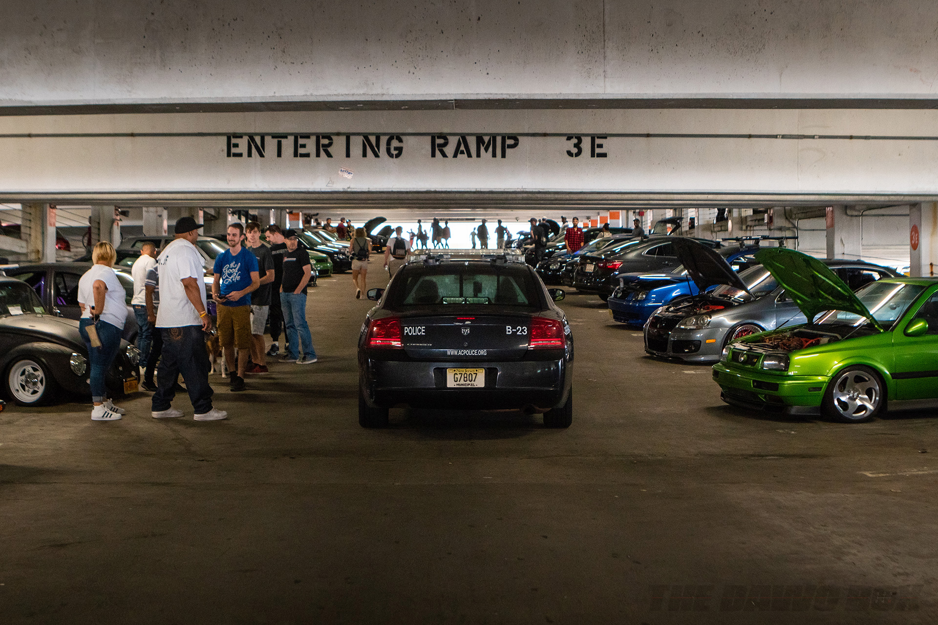 Police Patrolling a Parking garage at H2Oi