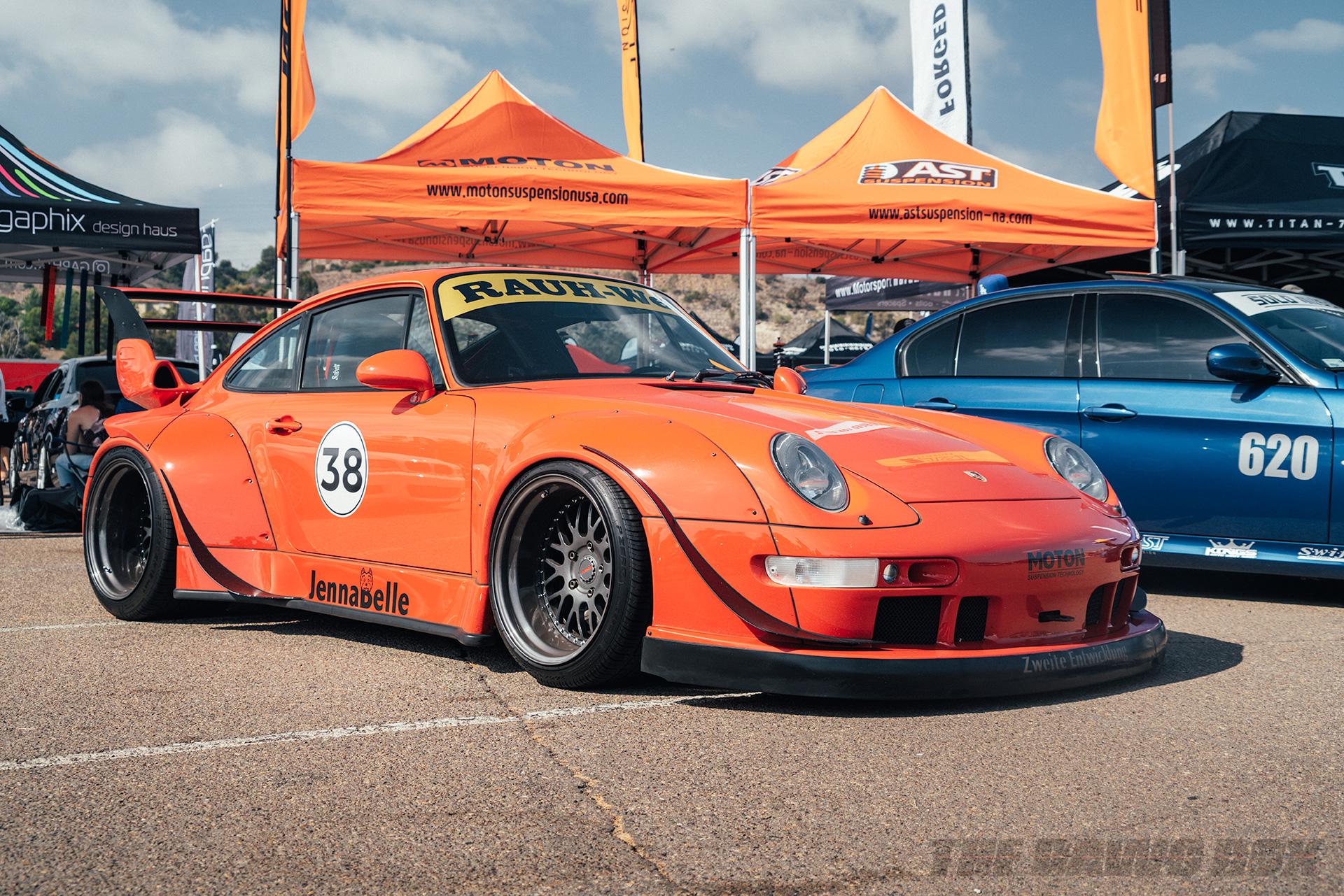 Orange Porsche 911 on display at Big Socal Euro