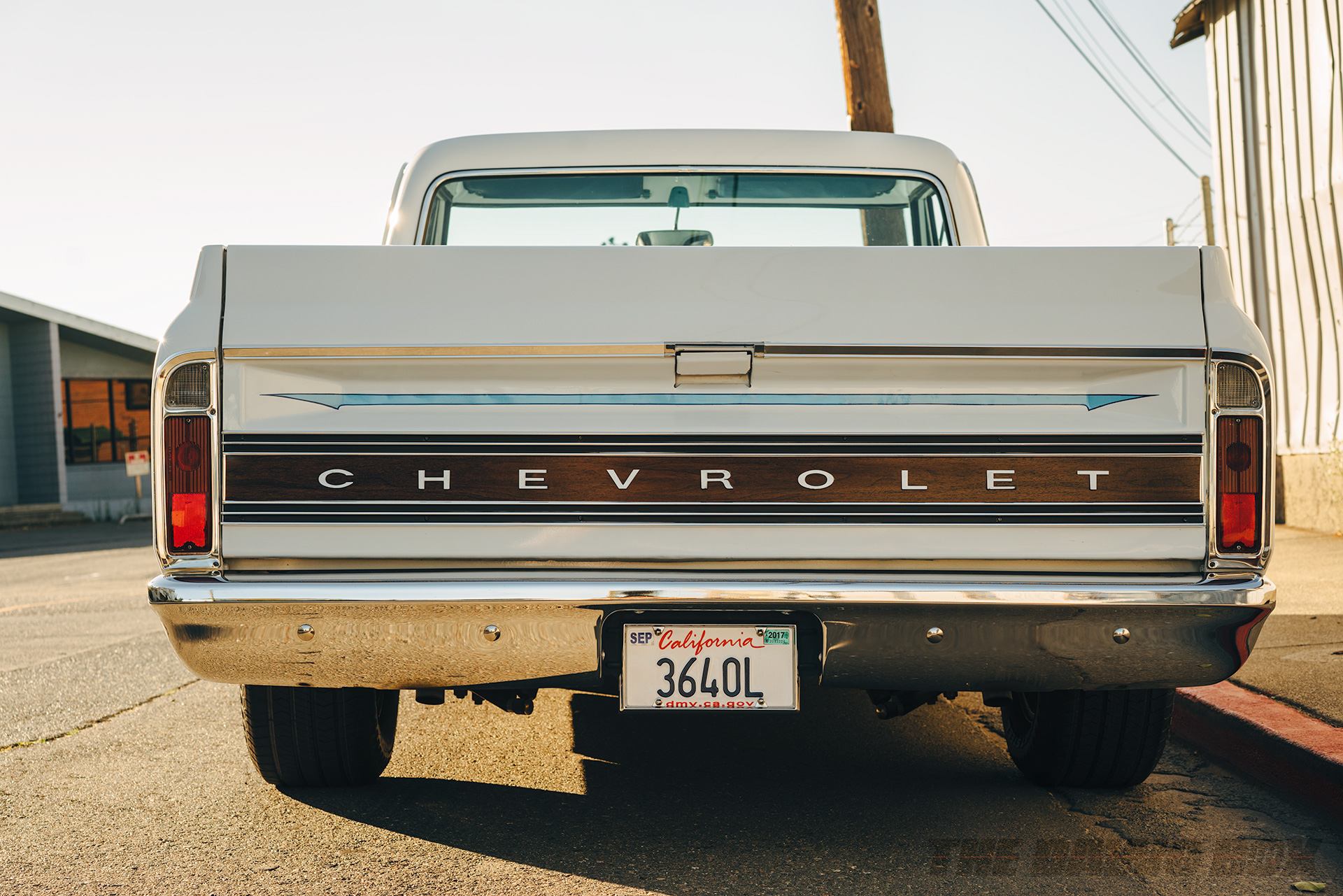 rear end of Mike Hegarty's white 1971 Chevrolet C10