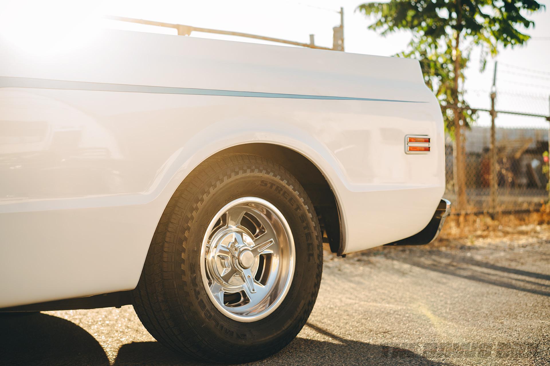 Mike Hegarty's white 1971 Chevrolet C10 with Milestar Street Steel tires