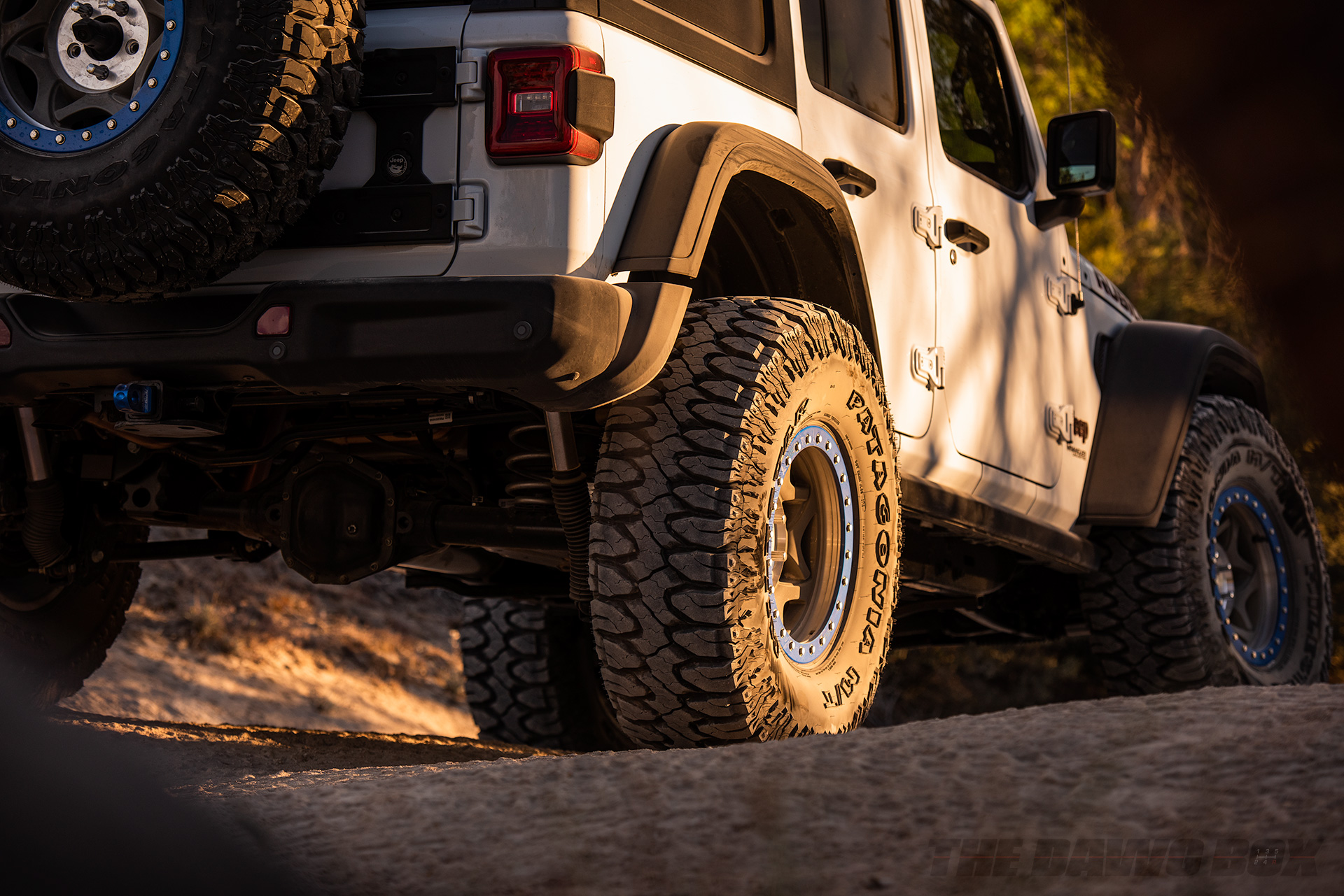 Close up of the Milestar Patagonia M/T off road tires on a white Jeep Wrangler Rubicon