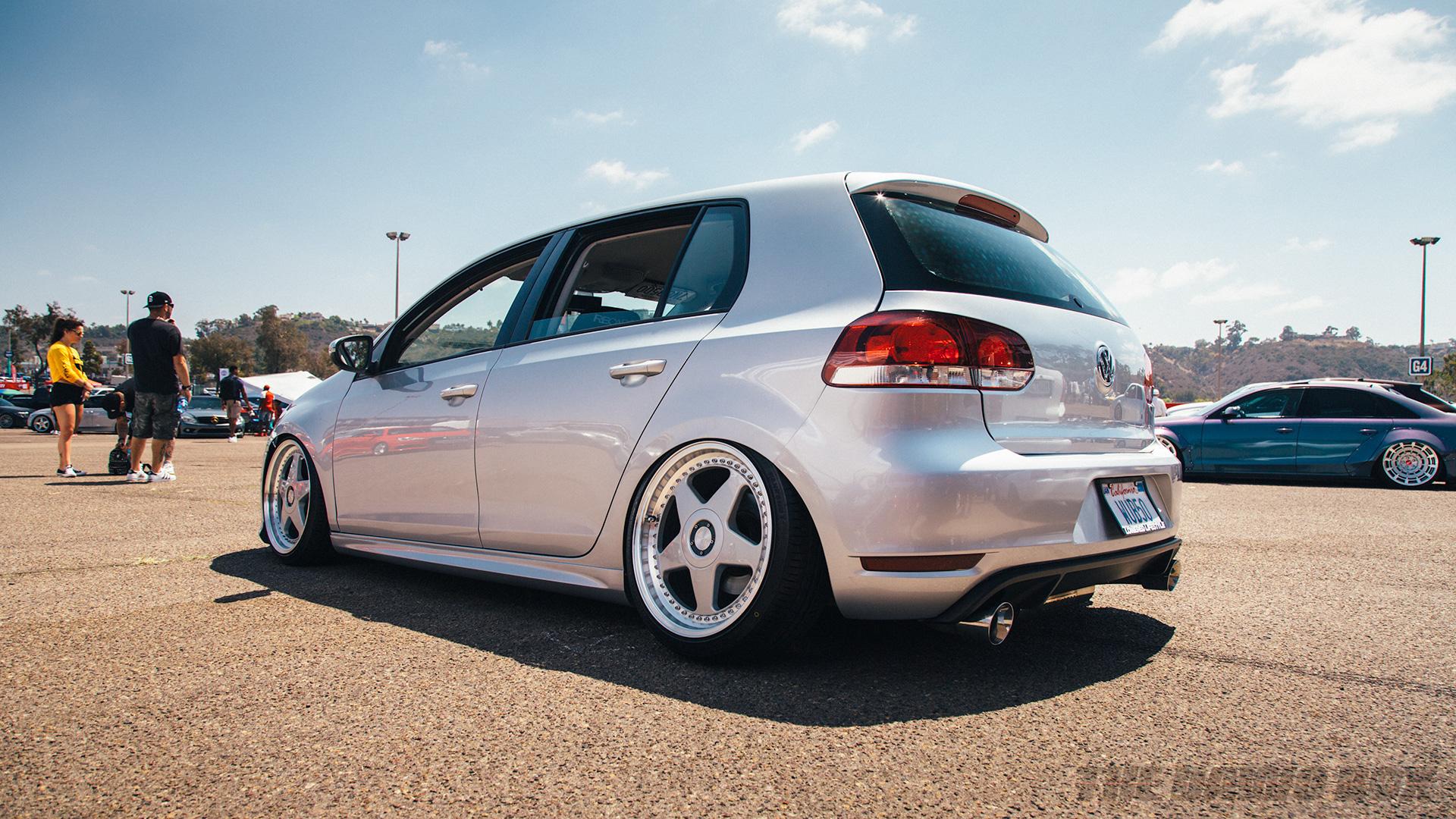 Silver Volkswagen Golf at Big Socal Euro