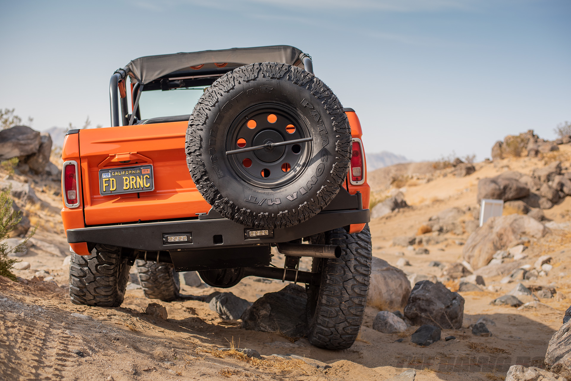 Orange Vintage 71 Ford Bronco Sport on Milestar Patagonia MT