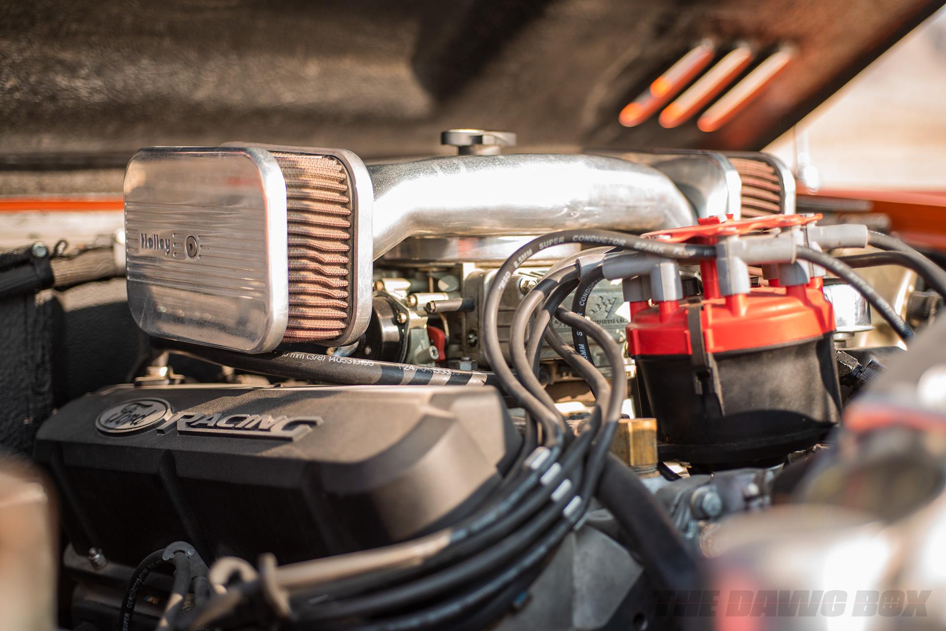 Orange Vintage 71 Ford Bronco Sport engine shot