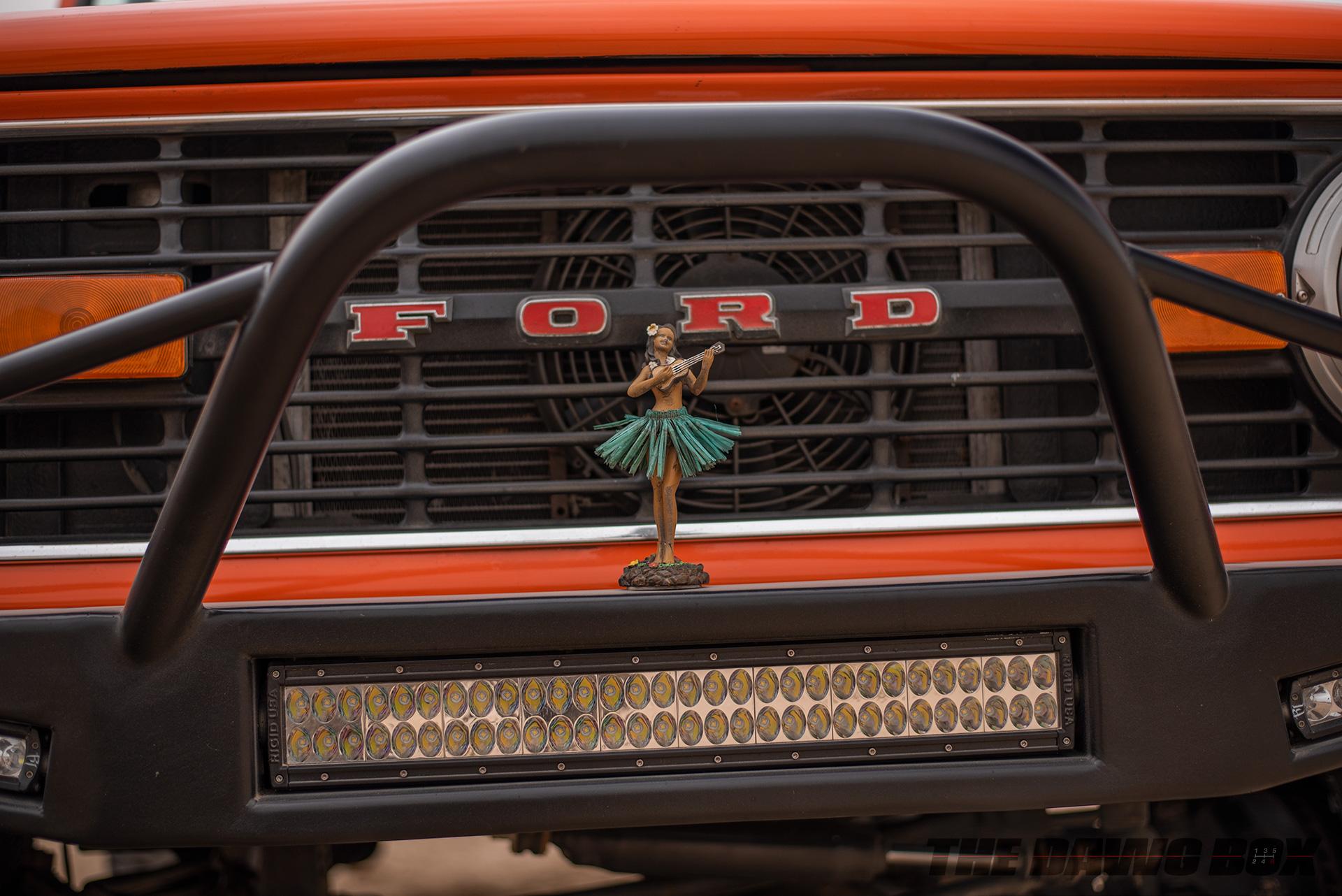 Orange Vintage 71 Ford Bronco Sport Hula Girl and Light Bar