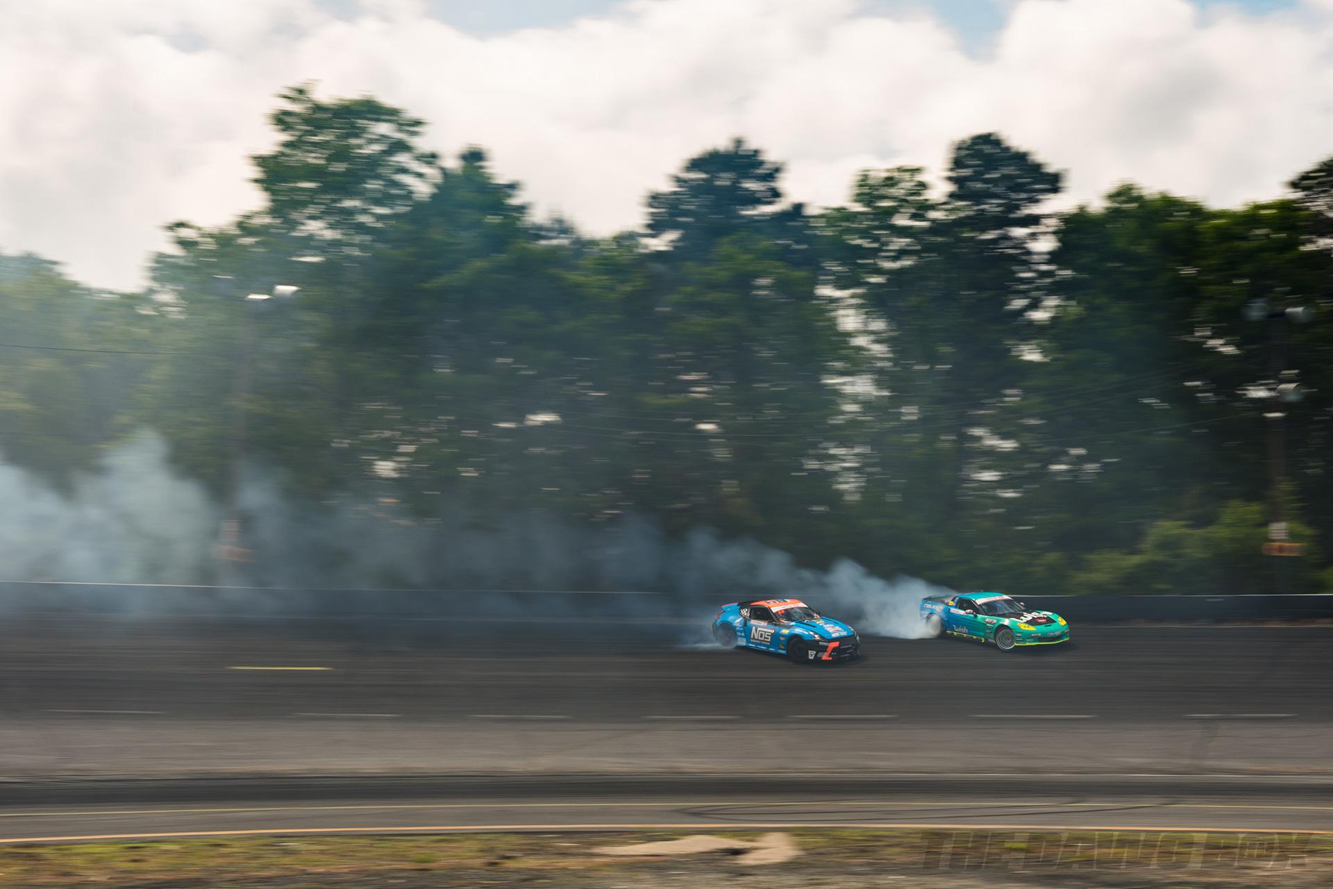 Chris Forsberg Nissan 370Z and Matt Field C6 Corvette drifting at FD