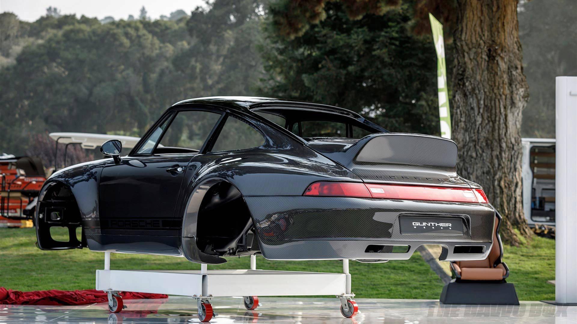 rear view of the Gunther Werks porsche carbon fiber shell