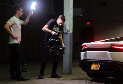 Chris and Anthony filming the Lamborghini