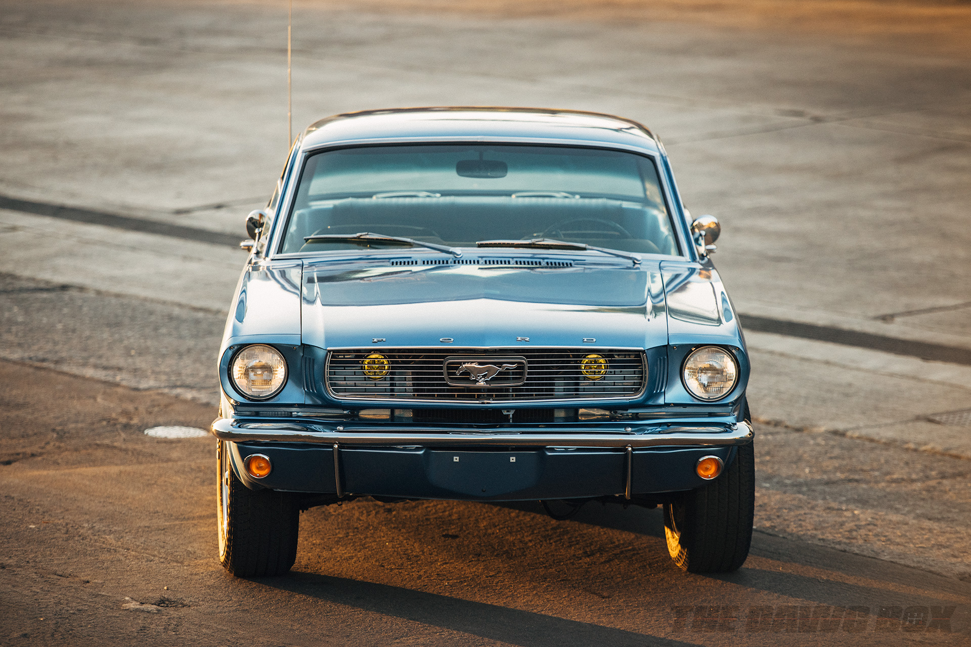 Front shot of the Blue 1966 Mustang Coupe