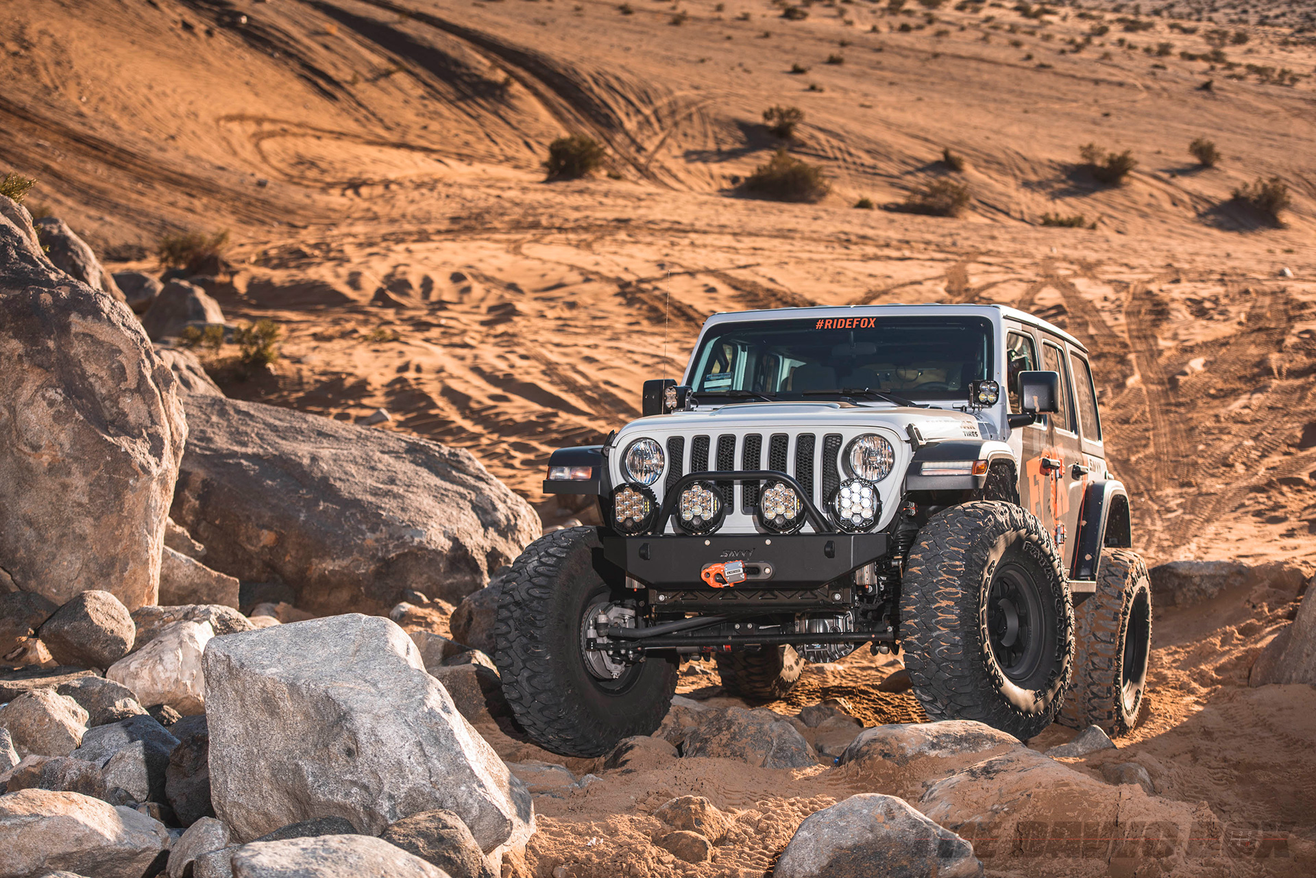 Dan Fresh's 2018 White Jeep Wrangler Unlimited Rubicon JL with 40 inch Milestar Patagonia MT tires