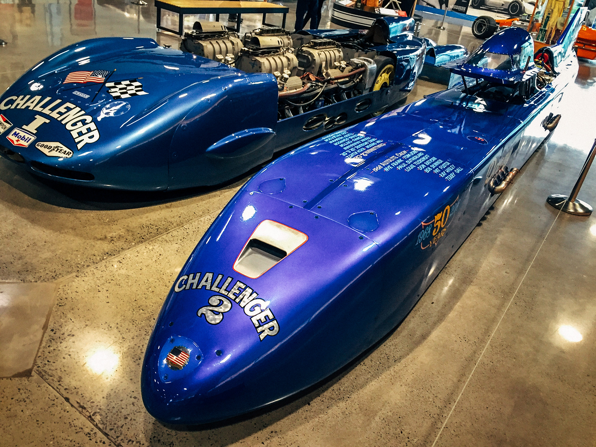 Mickey Thompson's Challenger II land speed racer next to Danny Thompson's record-setting Challenger 2 land speed racer at the World of Speed Museum