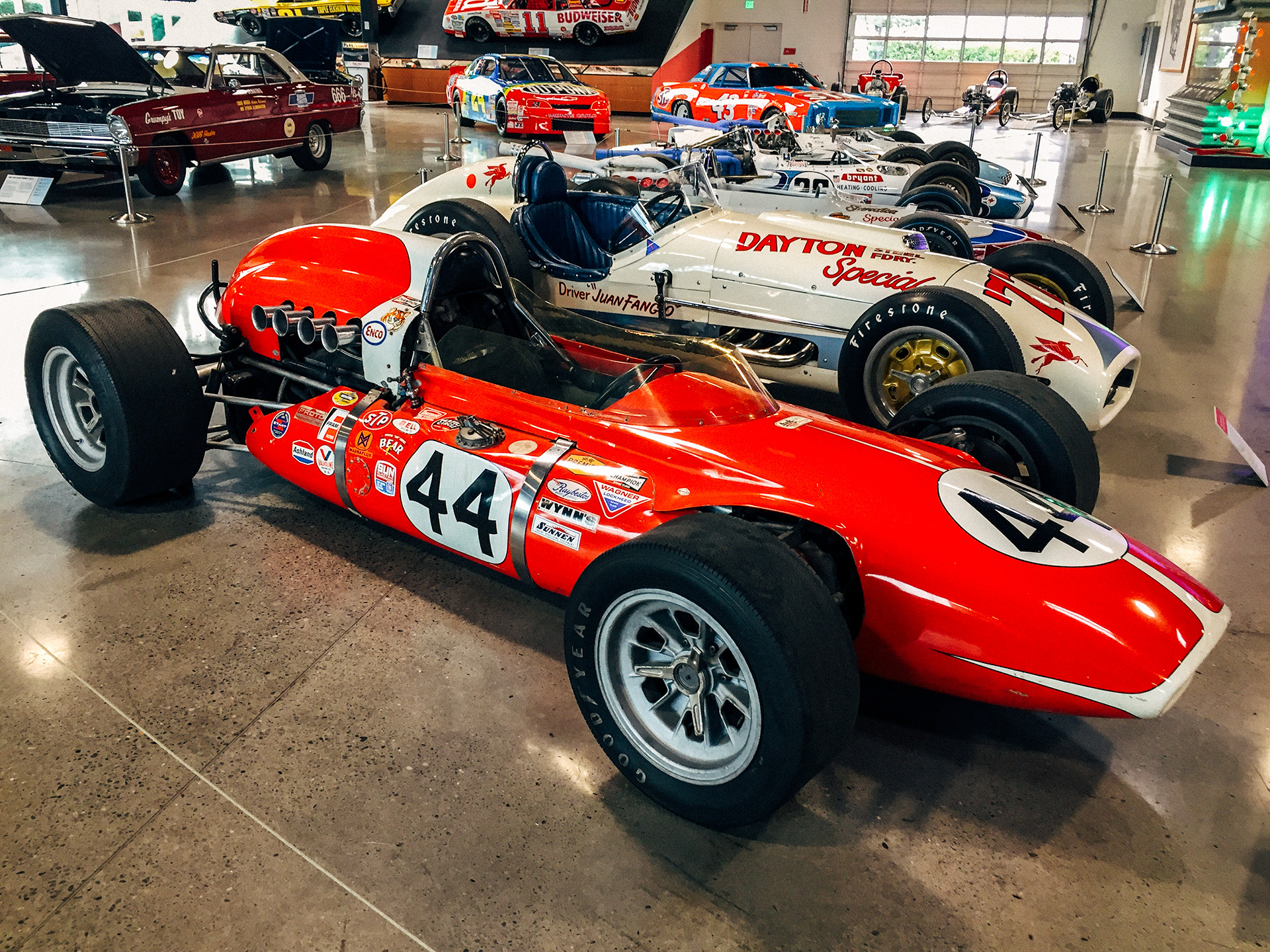 Collection of Indy 500 race cars from the 1950's at the World of Speed Museum