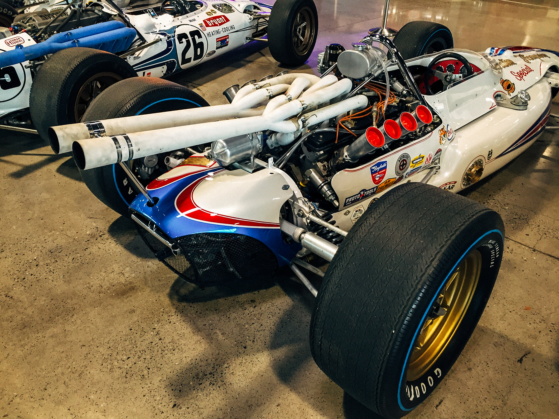the rear mounted engine on a classic race car at the World of Speed Museum
