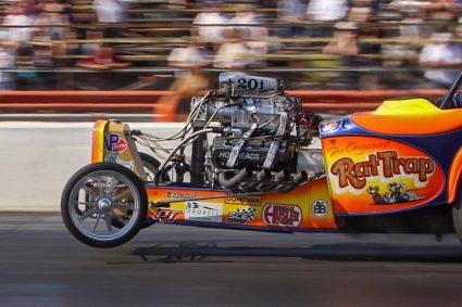Donovan Engines rat trap orange on racing tracks