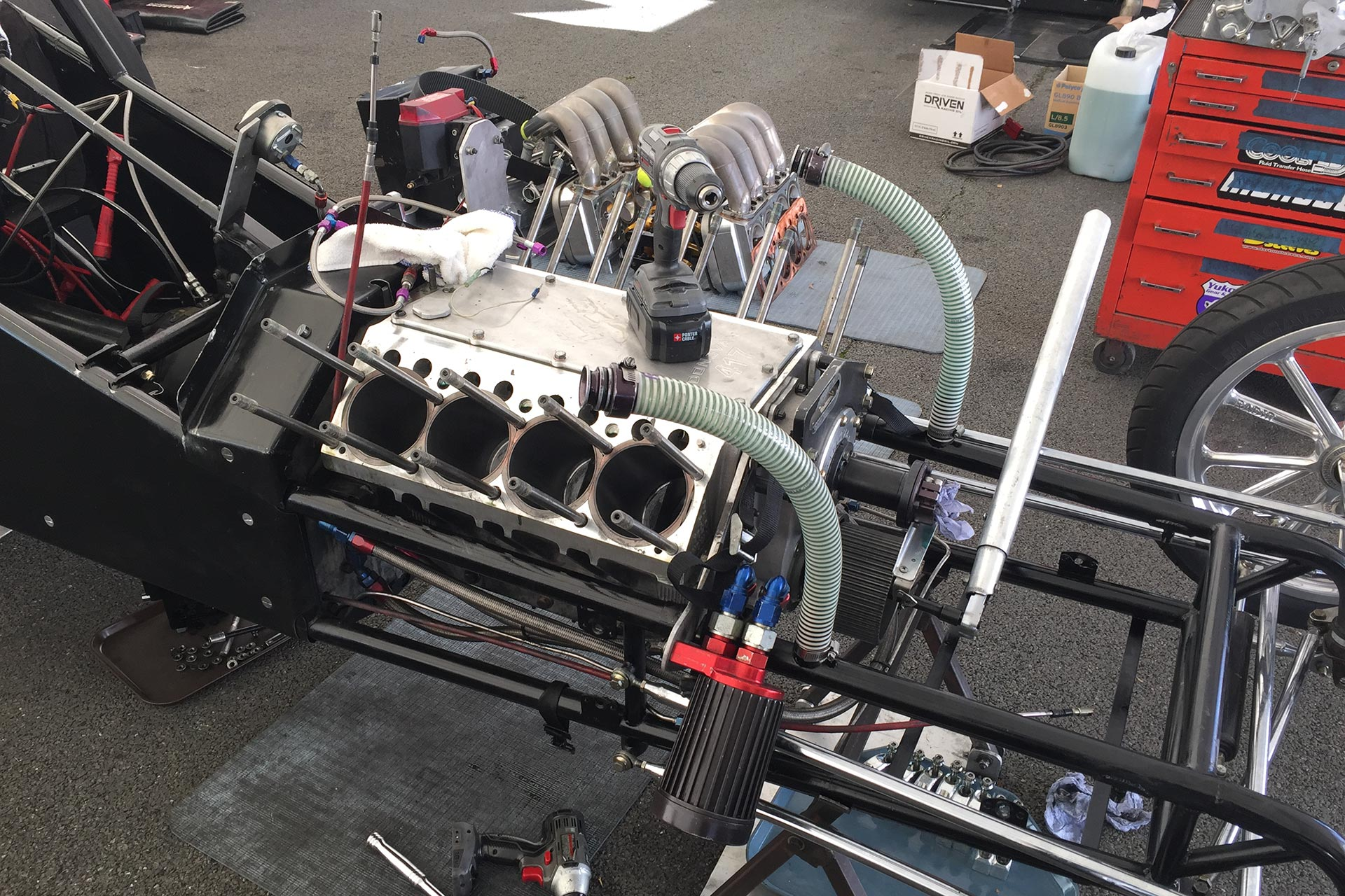 Engine between drag strip rounds