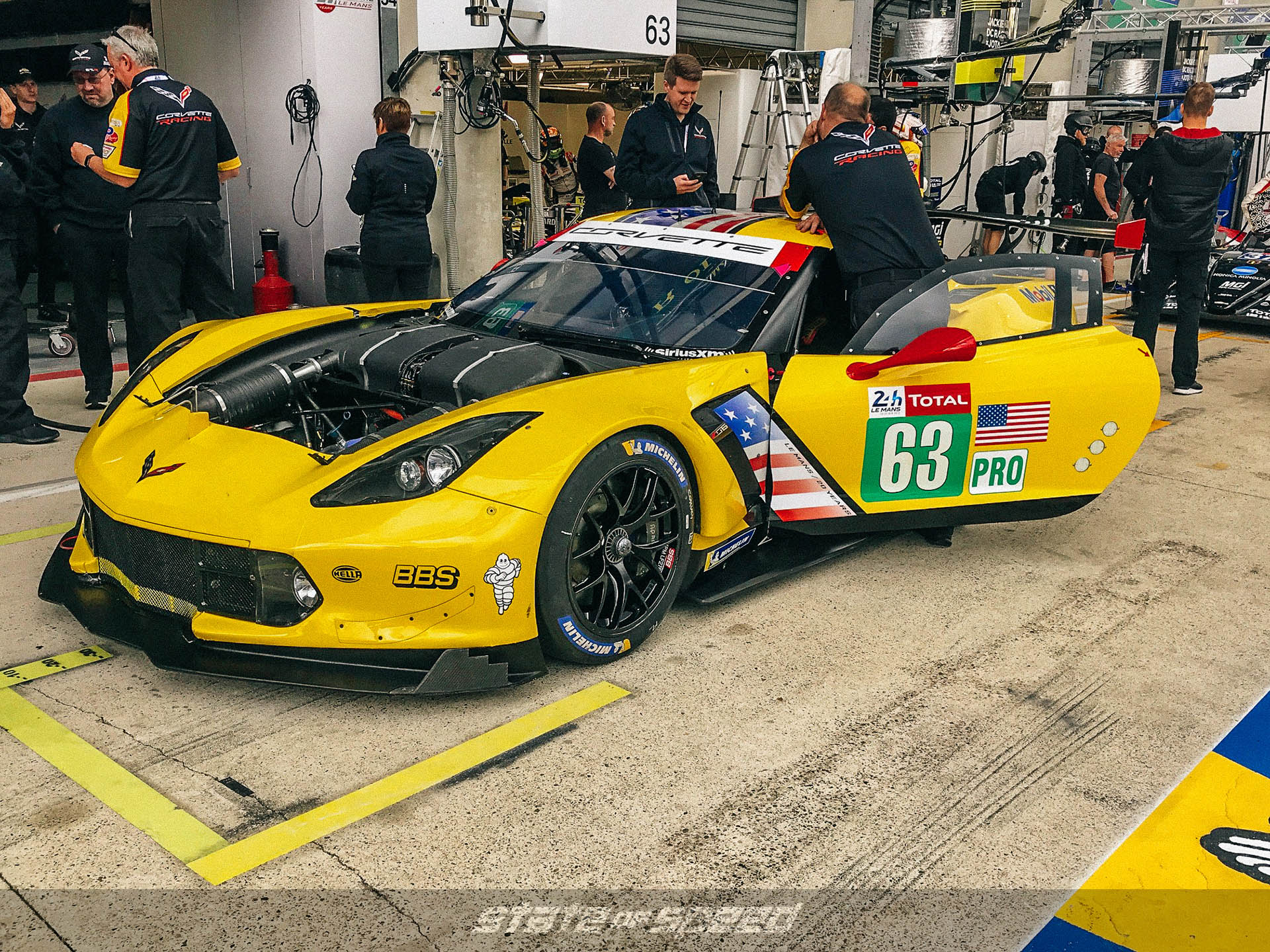 #63 Corvette in pits at Le Mans