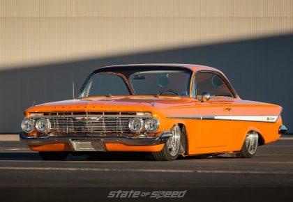 Orange 1958 chevy impala