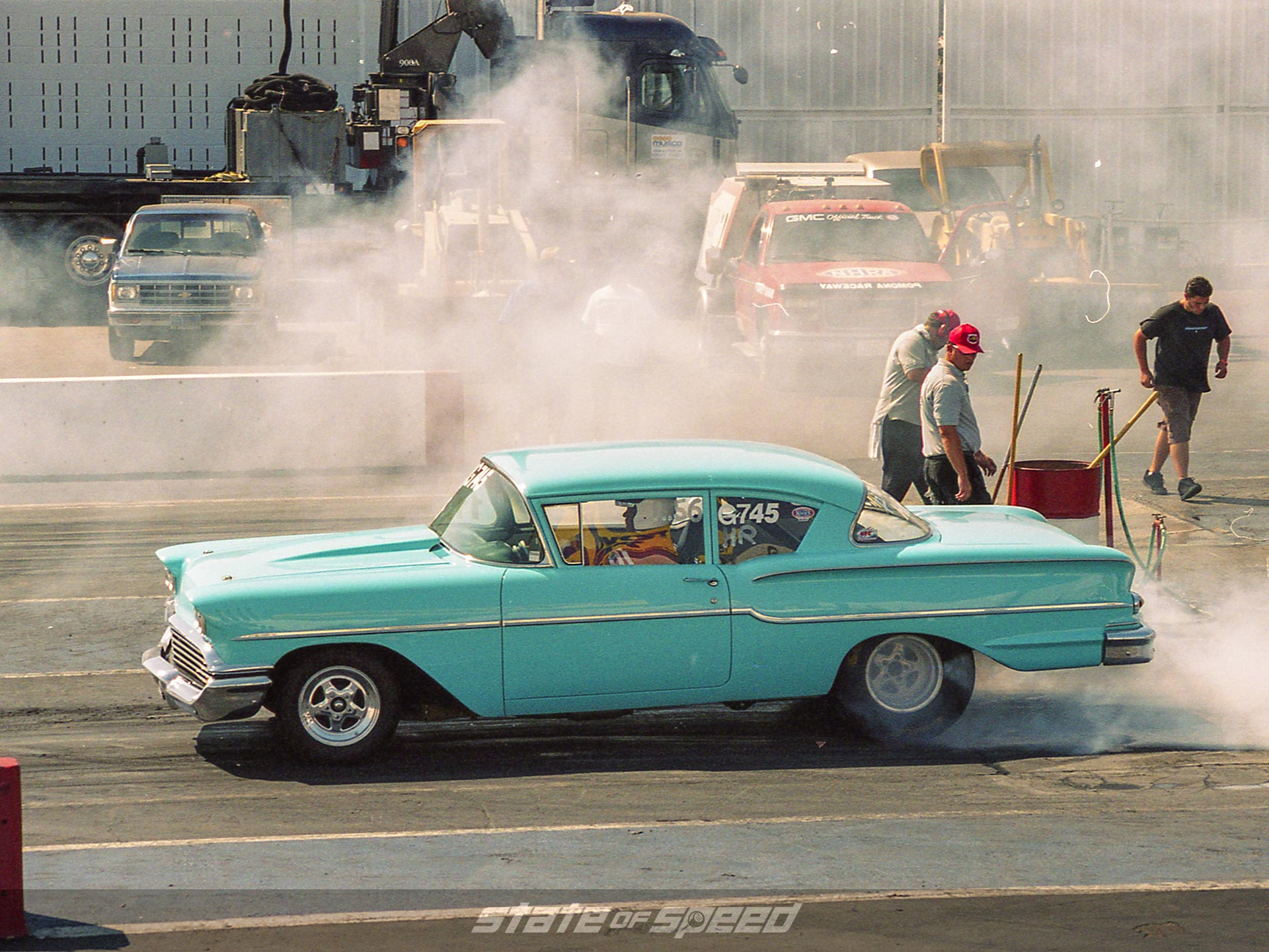 Retro Impala on the drag strip