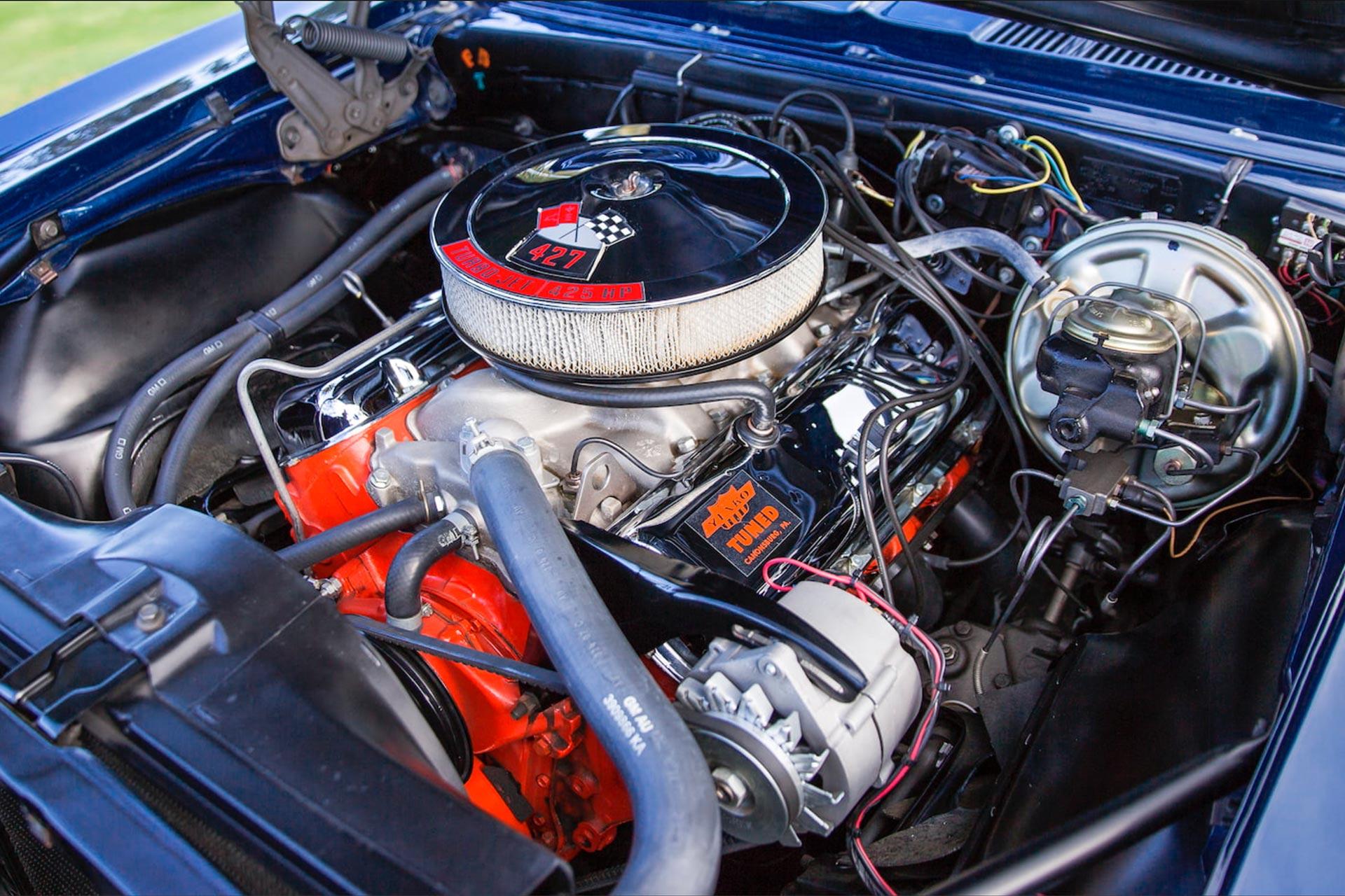 427 TurboJet 425 hp engine sitting in a 1967 Chevy Yenko Camaro