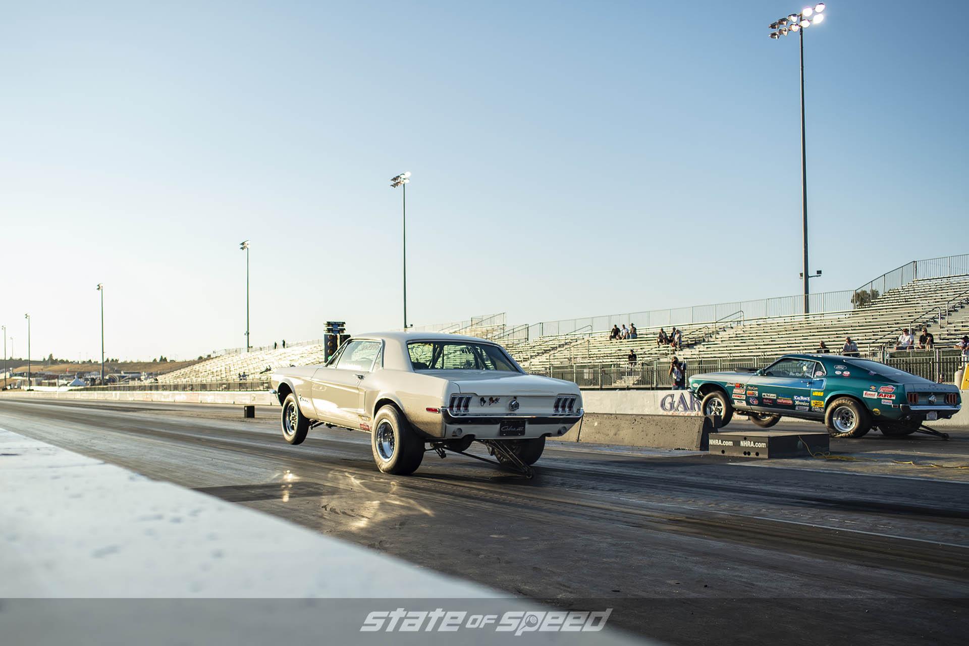 Vintage Mustangs on the drag strip