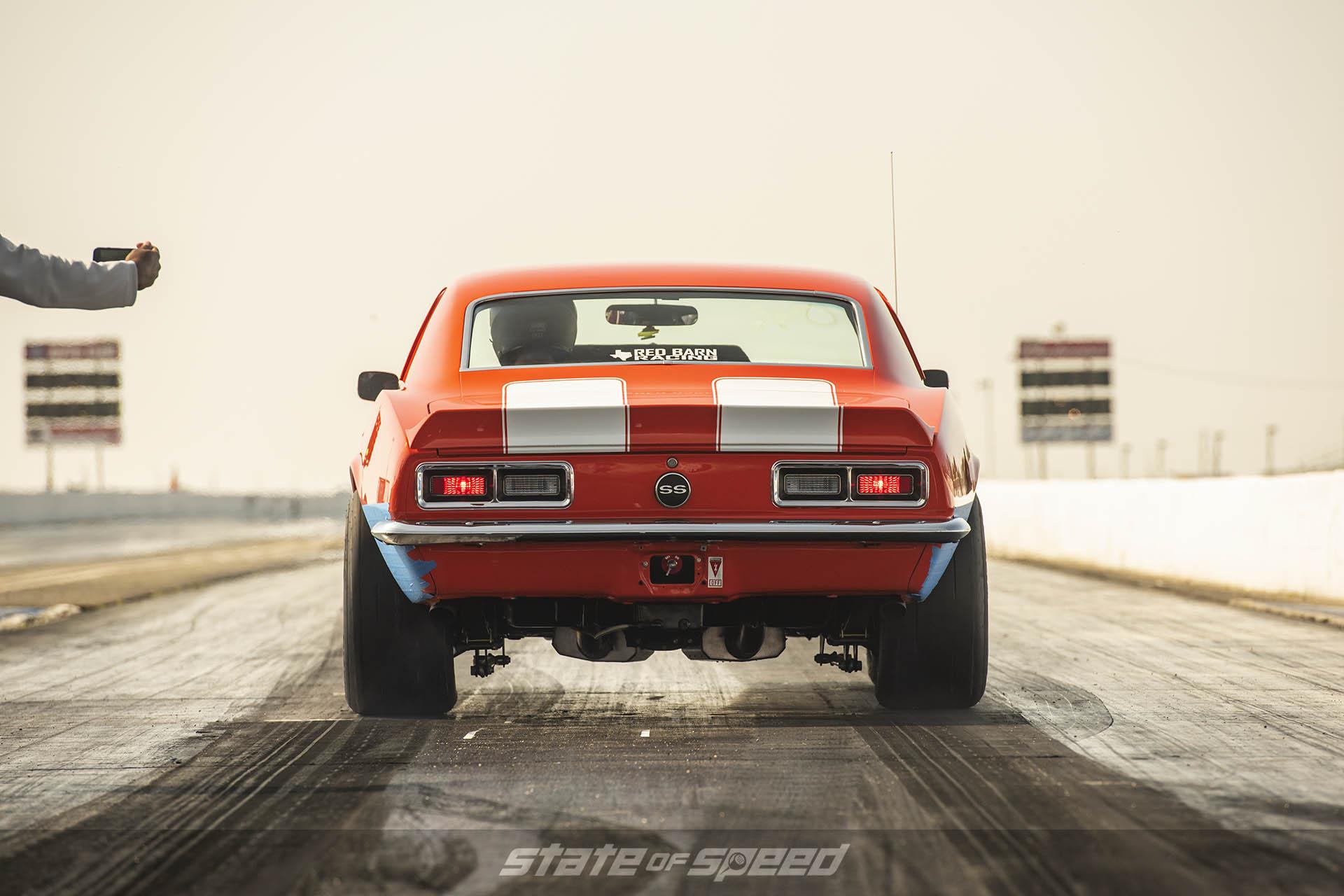 Chevy Camaro on the drag strip