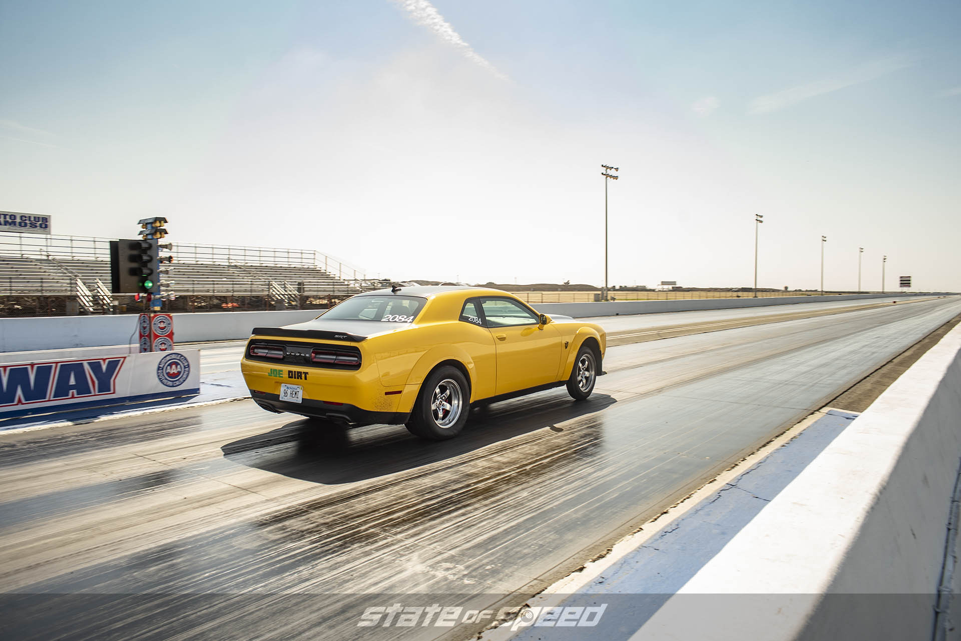 Dodge Challenger takes off on the dragstrip