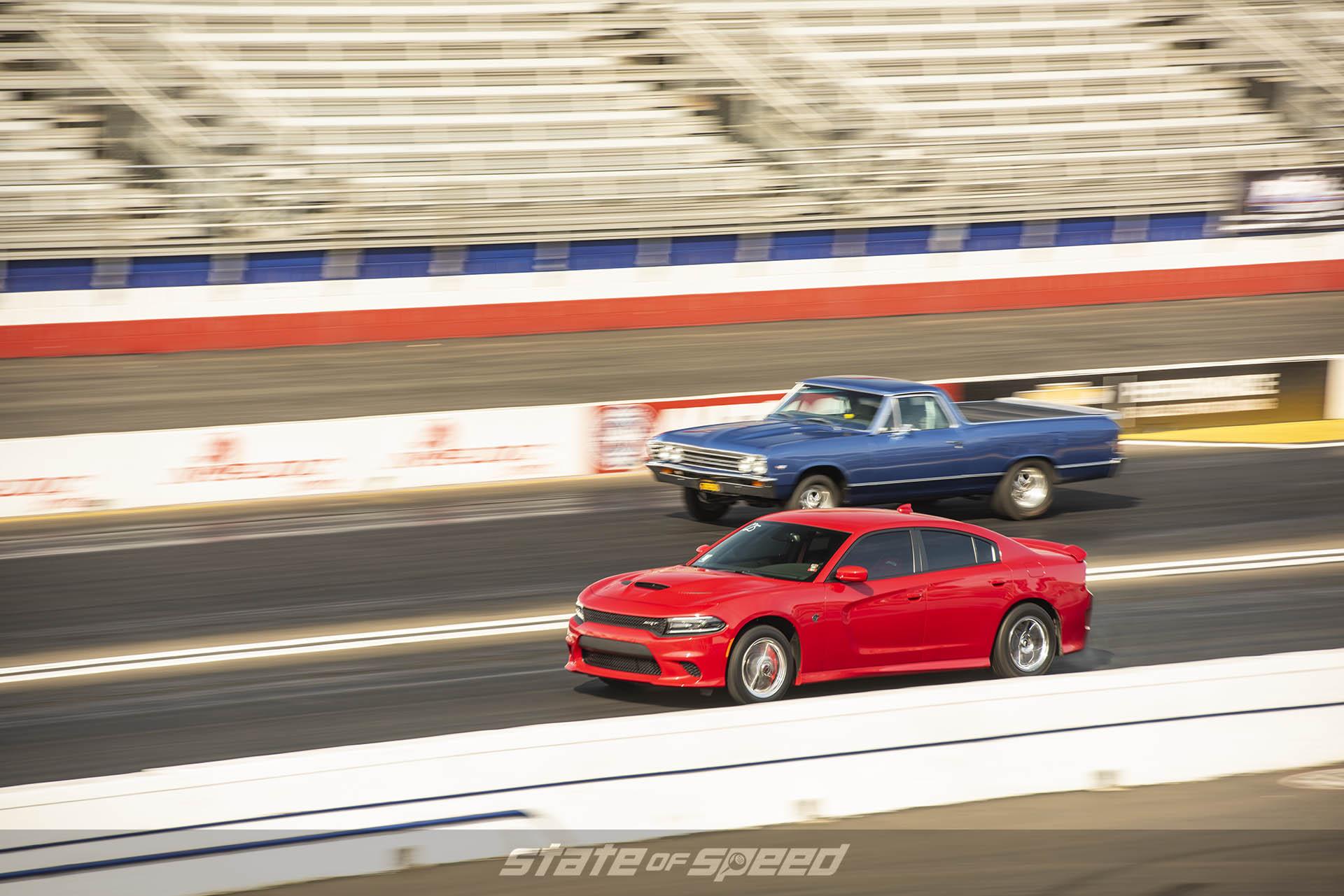 El Camino vs Dodge Charger on the drag strip