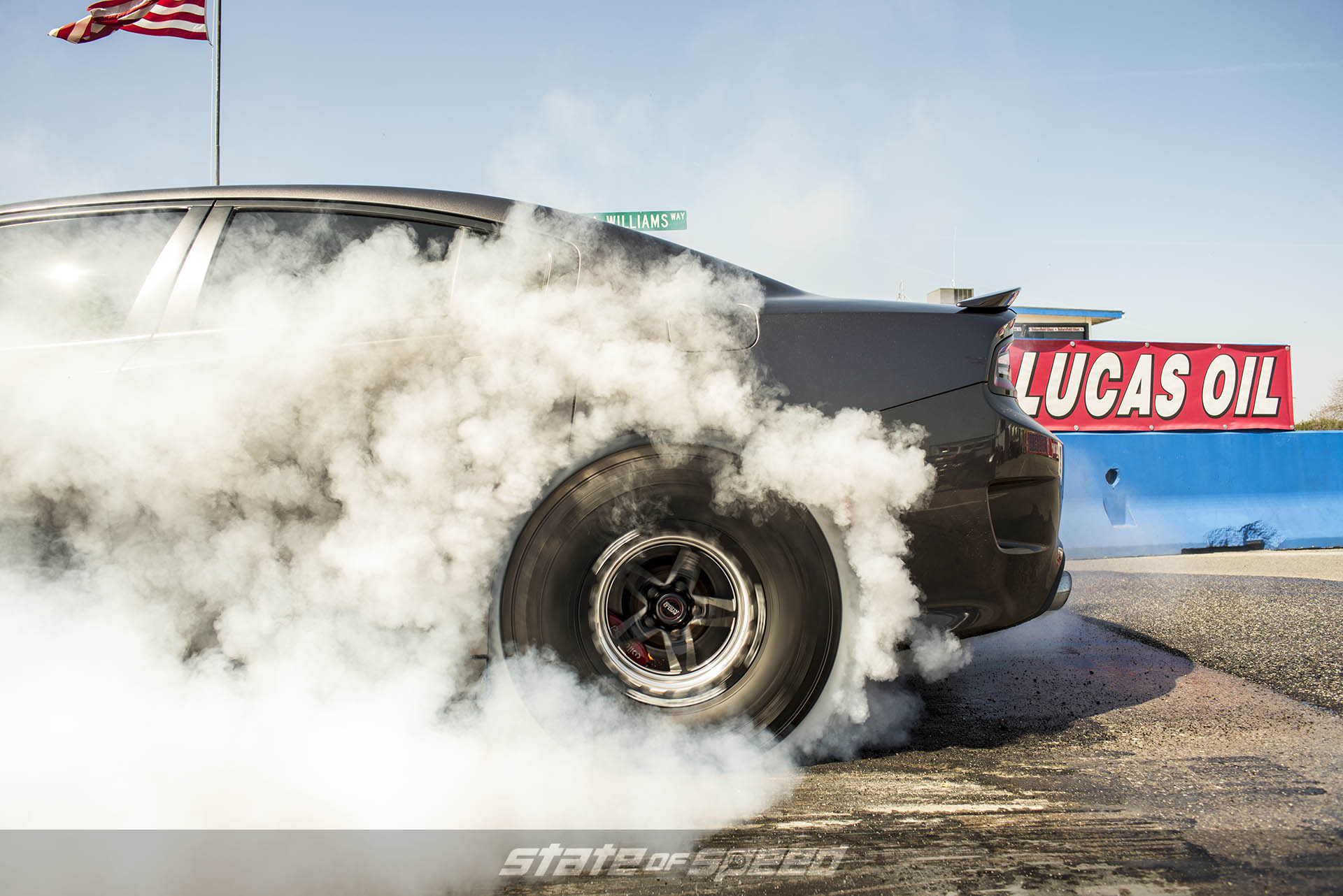 Burnout on the dragstrip