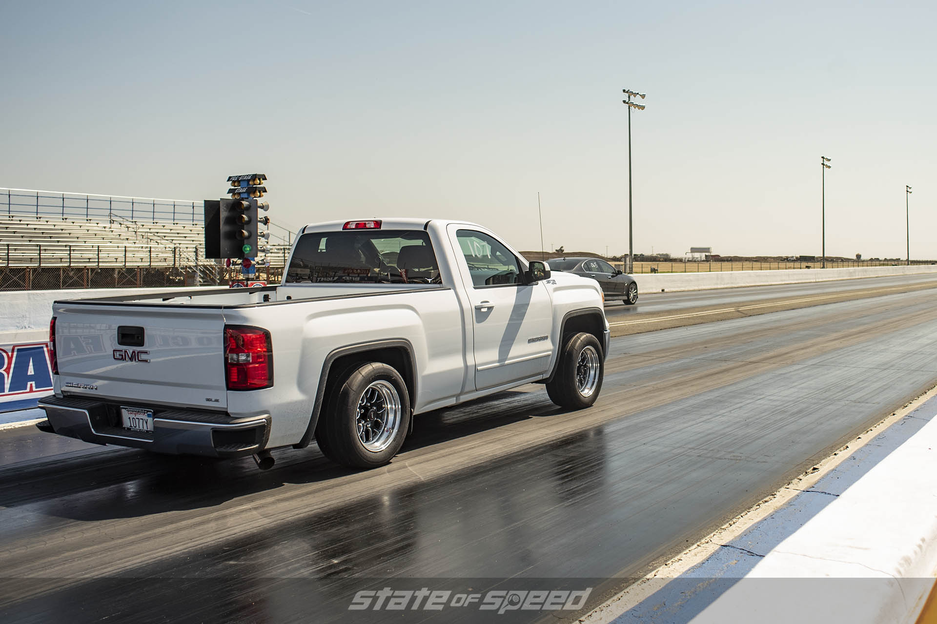 GMC truck on the dragstrip