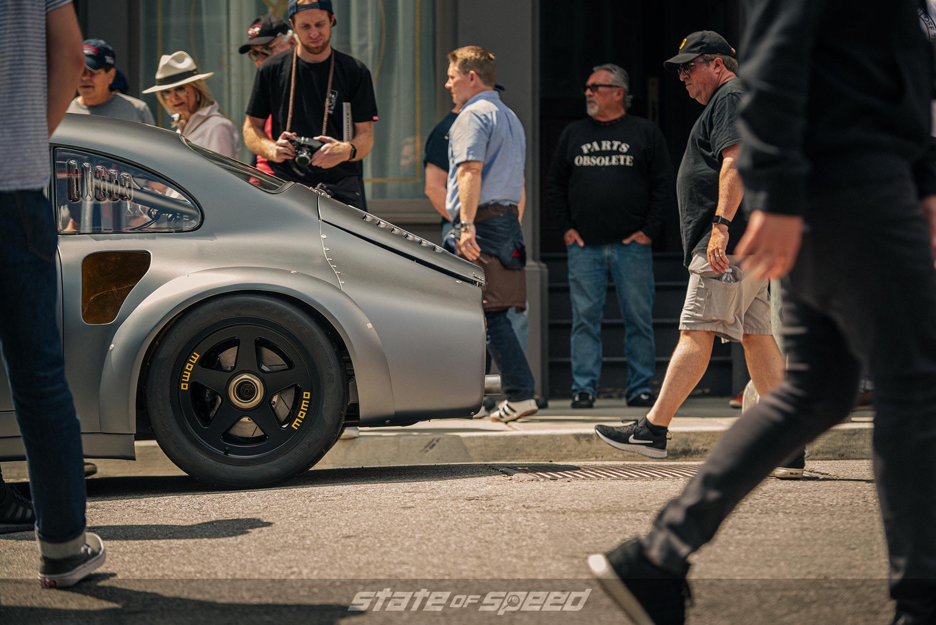 MOMO Heritage 5 on Henrique Cisneros' Rod Emory Porsche at Luftgekühlt 6