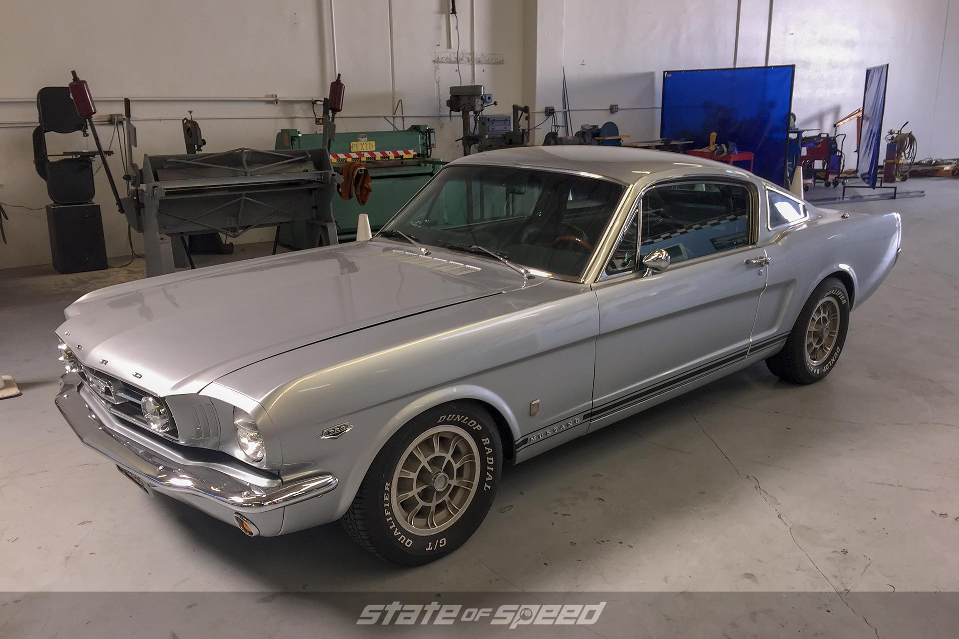 Silver Ford Mustang in the shop