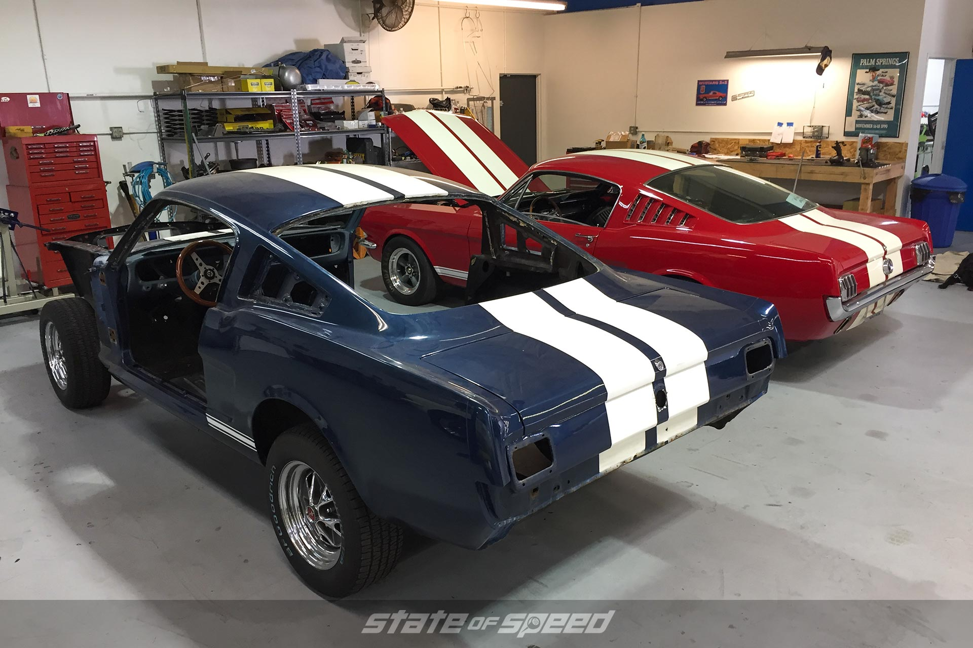 Ford Mustang bodies in the shop