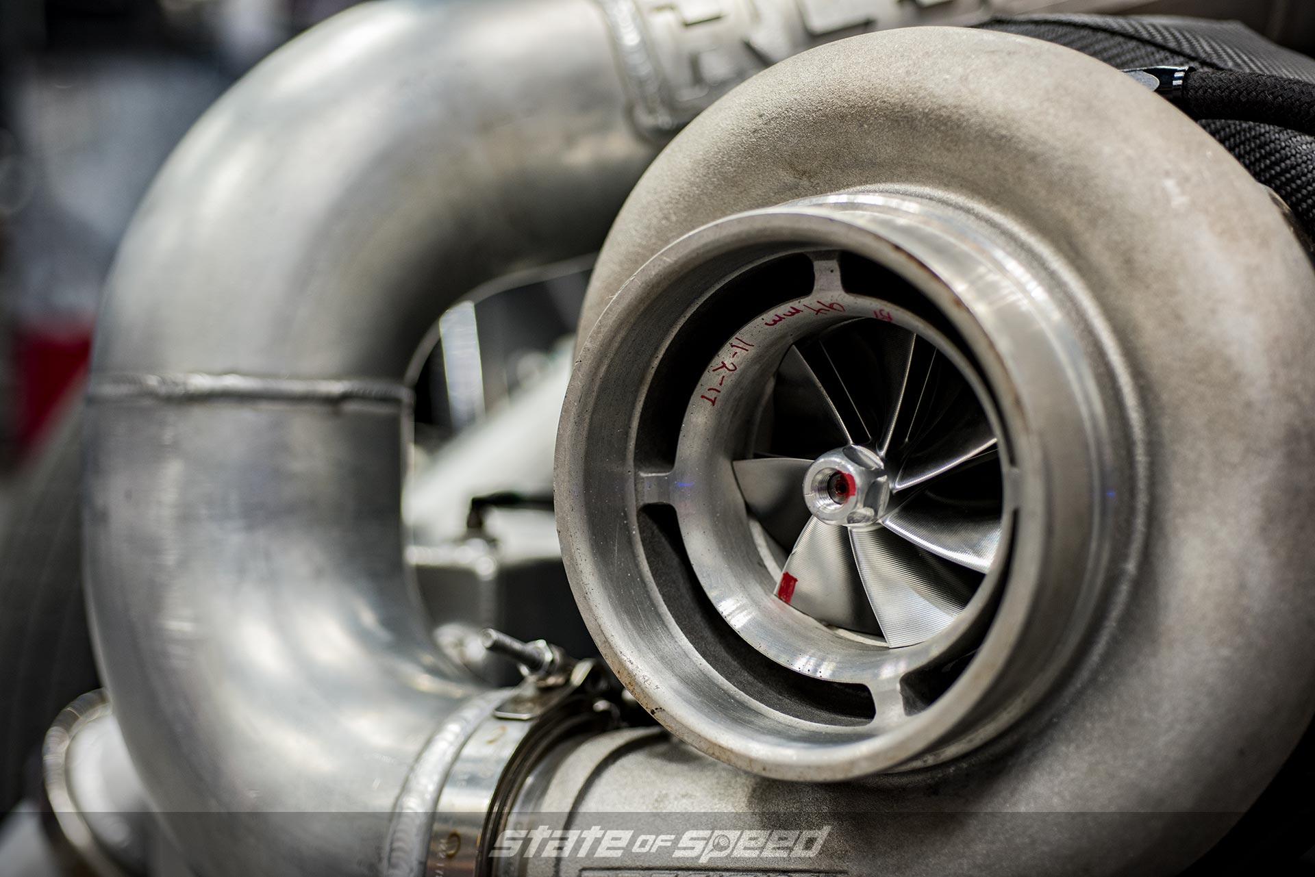 Closeup of a turbocharger