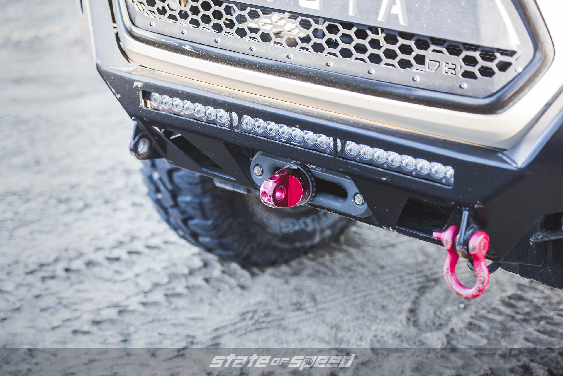 Winch on a Toyota Tacoma with Milestar Patagonia M/Ts