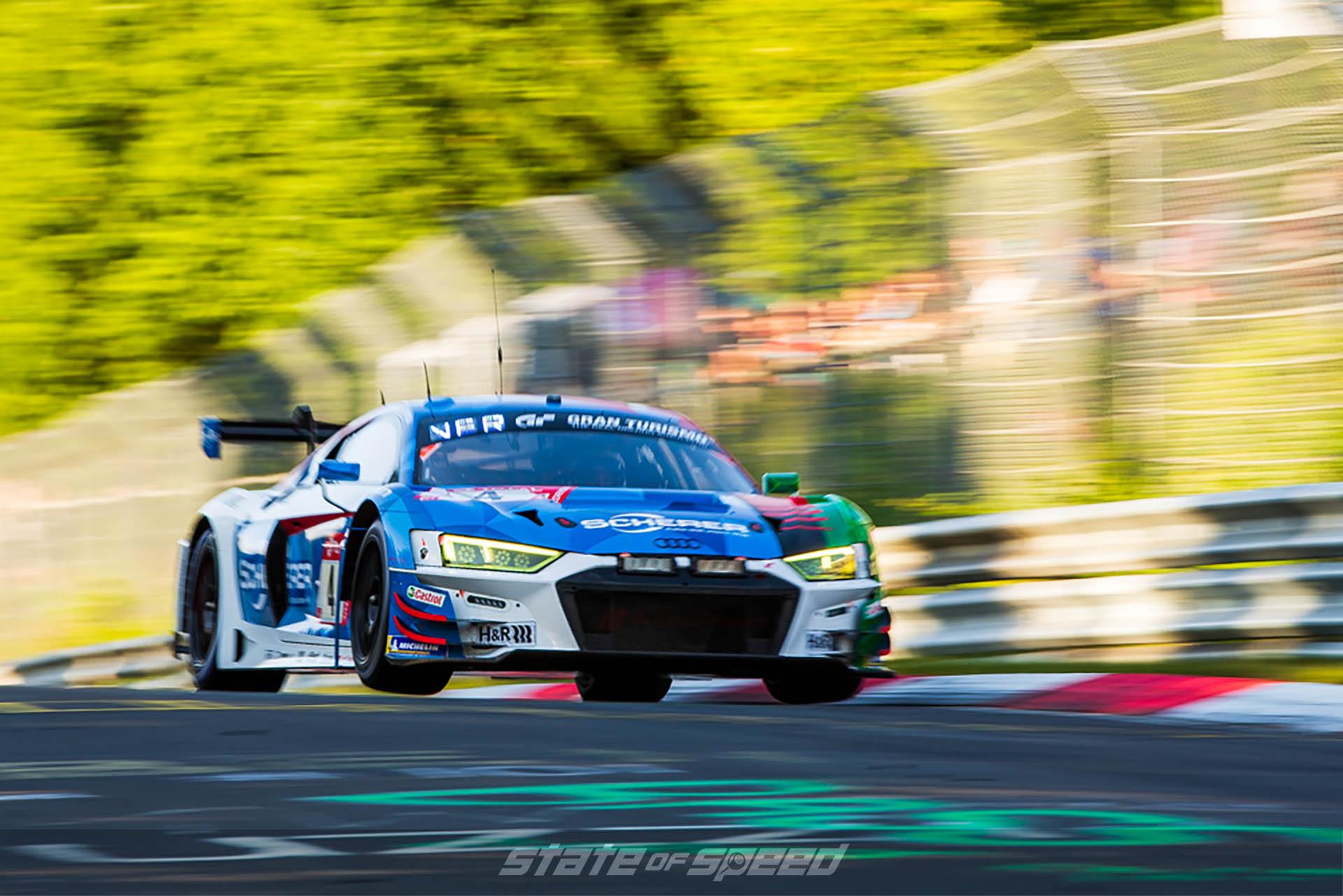 Audi R8 LMS at Nurburgring getting air
