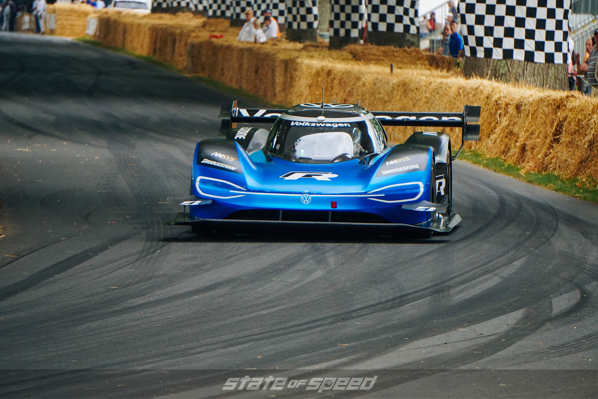 VW I.D. R at racing at goodwood festival of speed
