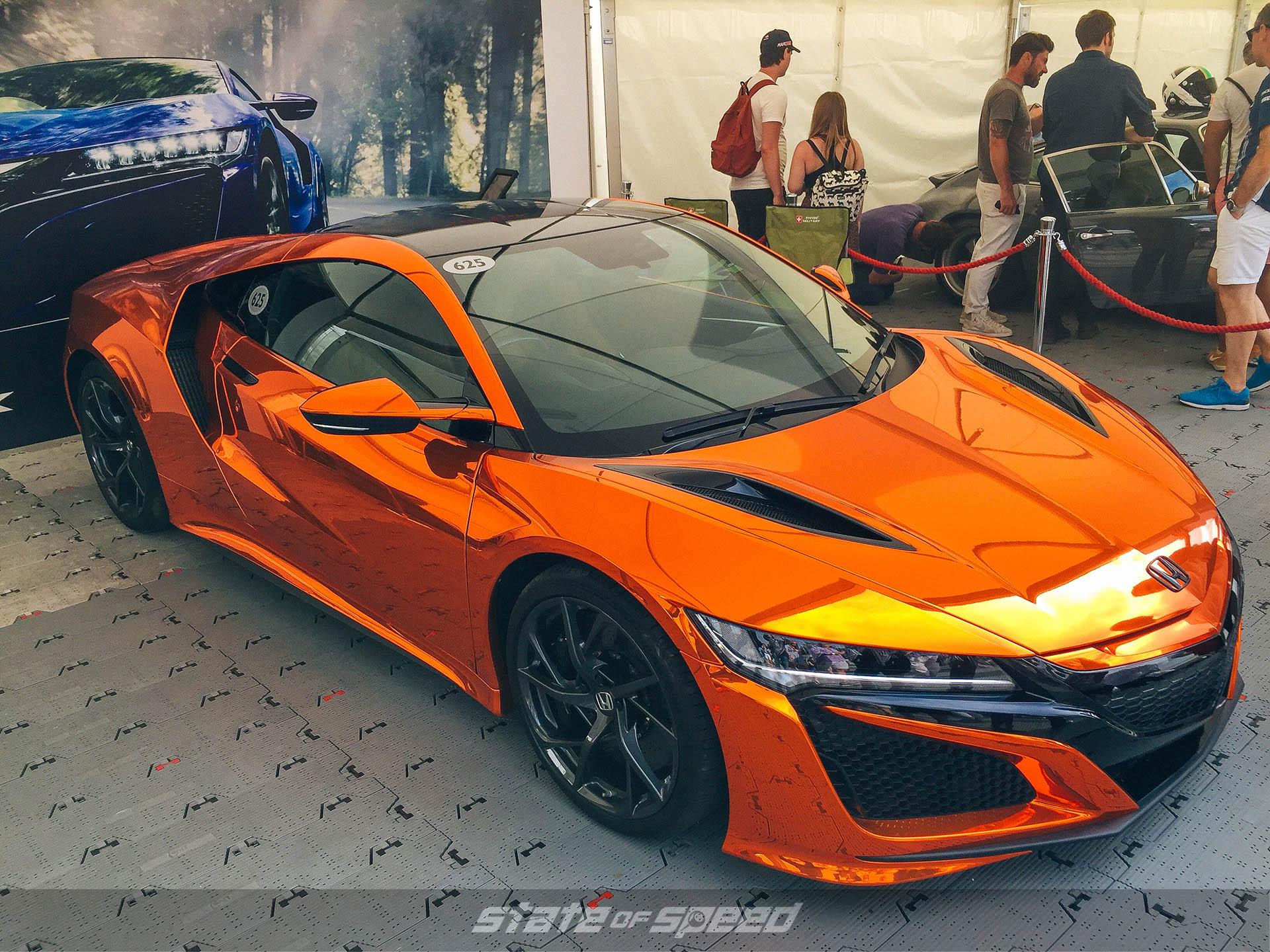 Metallic Orange wrapped NSX at Goodwood festival of speed