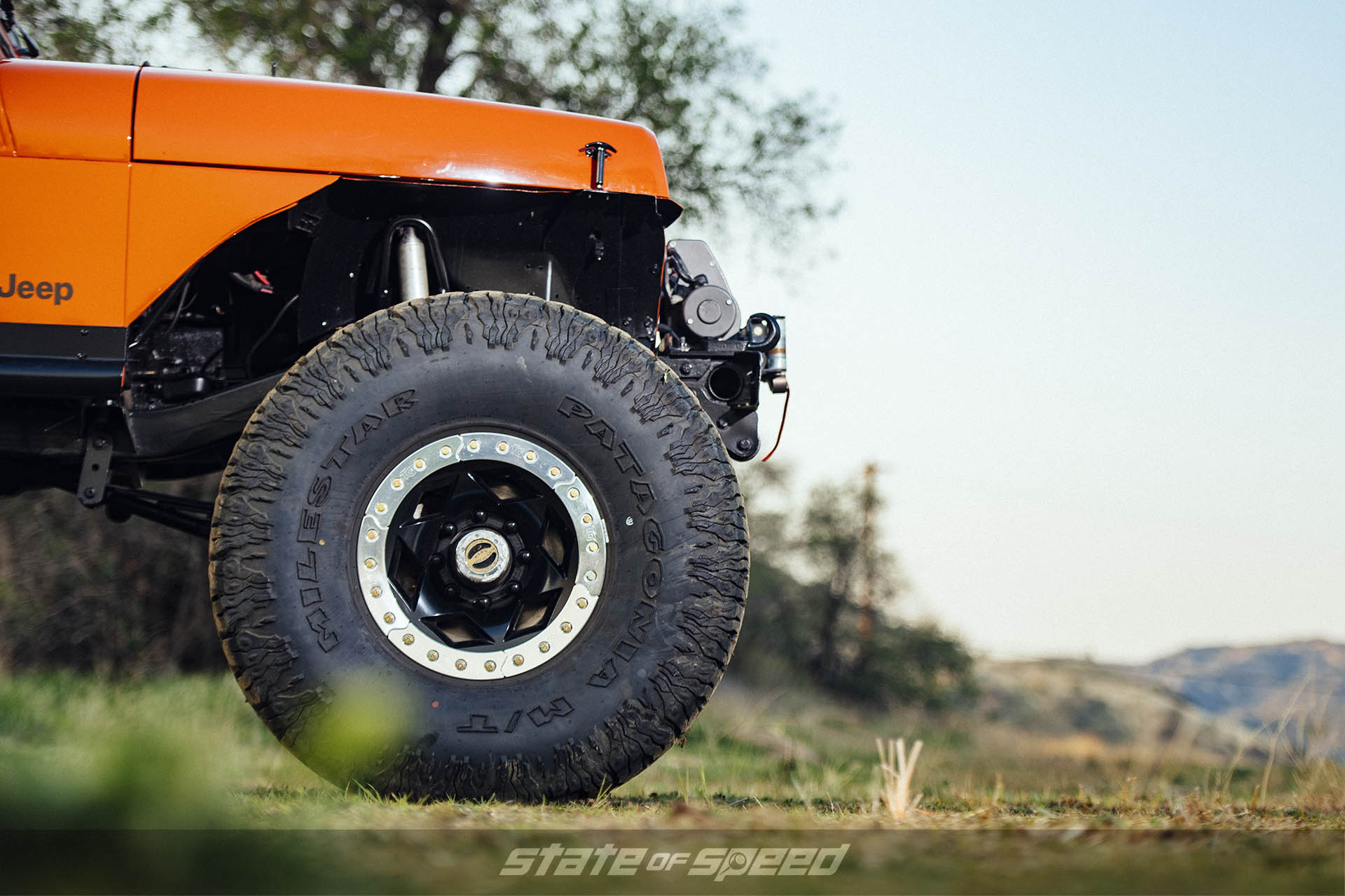 "40"" Milestar Patagonia M/Ts installed on Jeep YJ Wrangler with beadlocks"