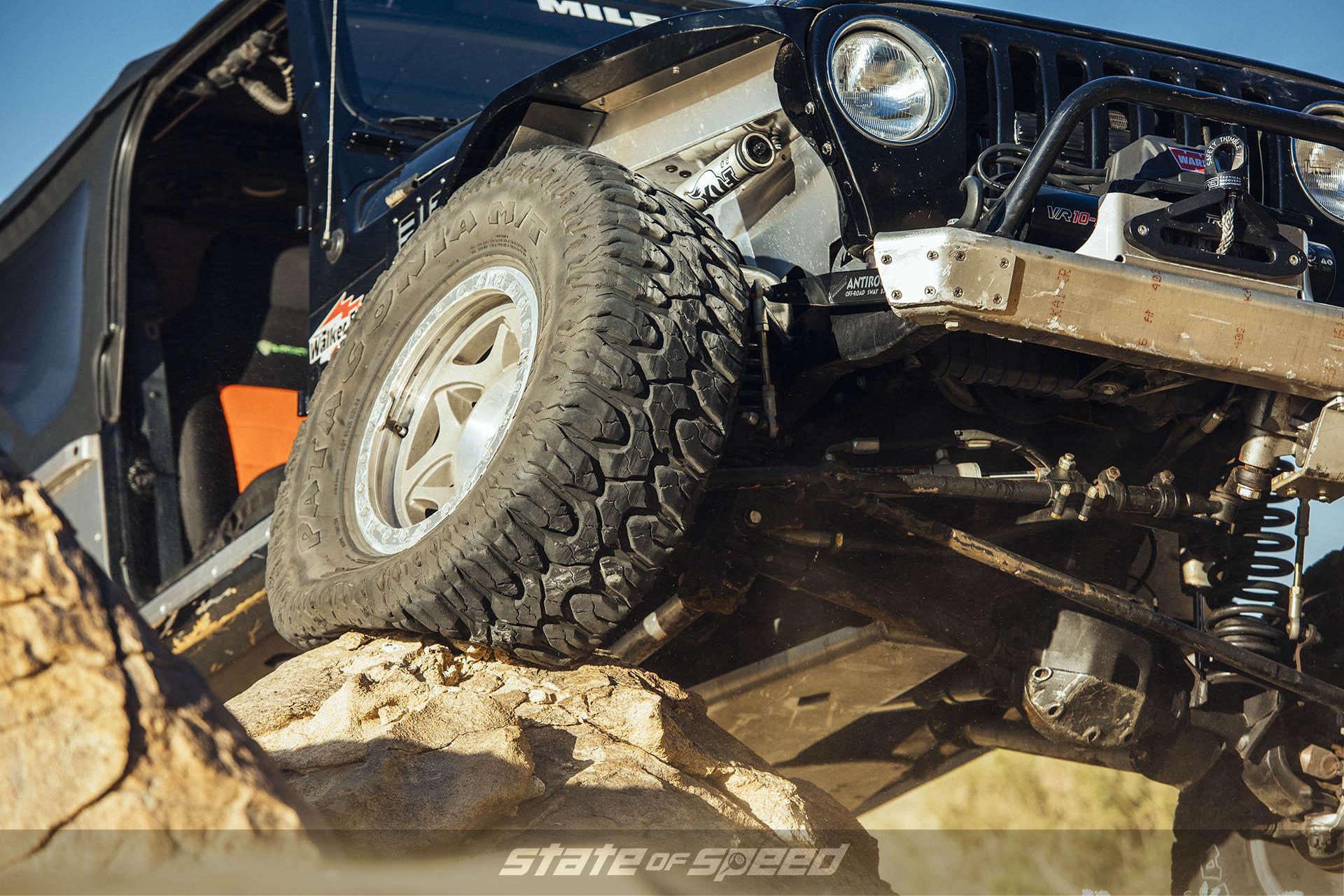Jeep TJ Wrangler with Milestar Patagonia M/Ts mounte with beadlocks