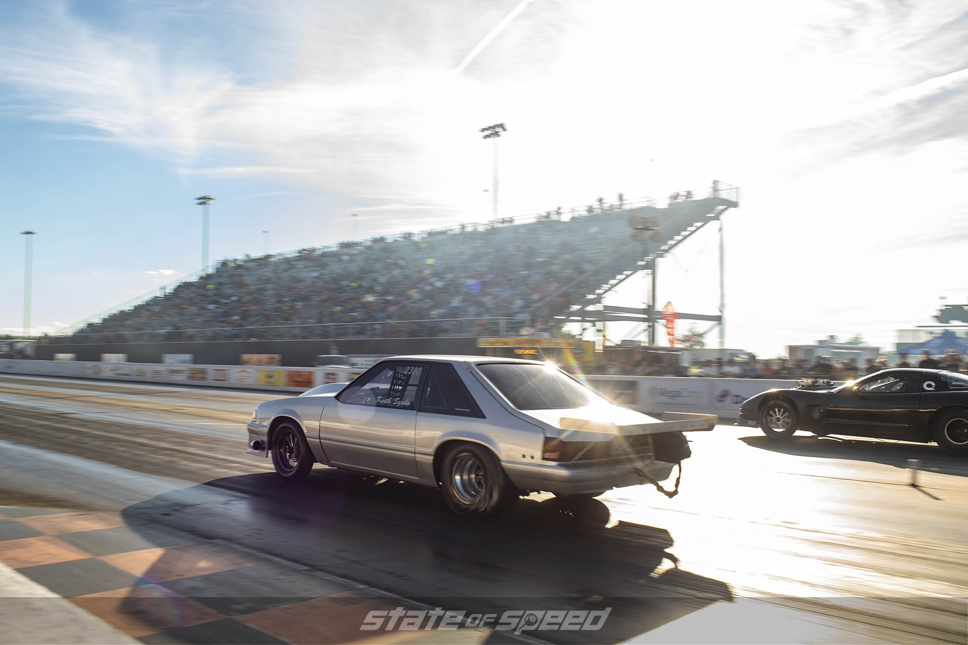Fox Body Mustang versus Corvette on the dragstrip heads up racing
