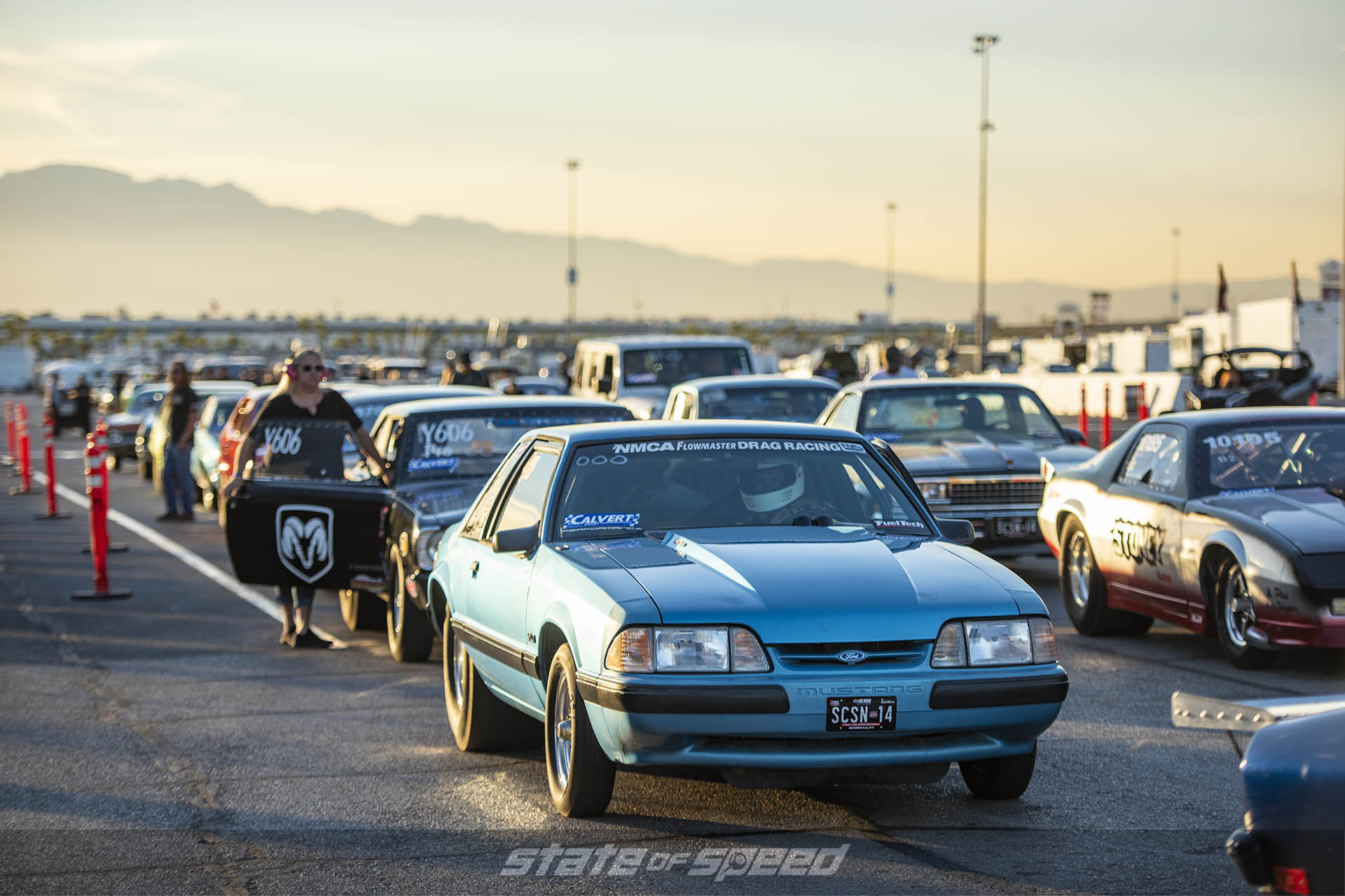 Cars waiting to race at the dragstrip