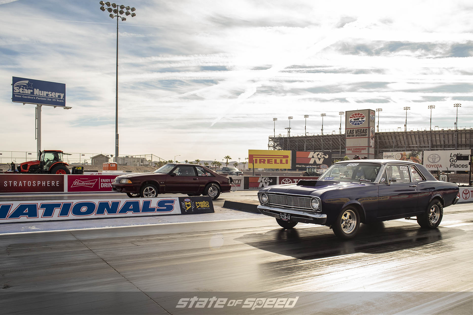 Ford Falcon versus Fox Body Mustang at the dragstrip heads up