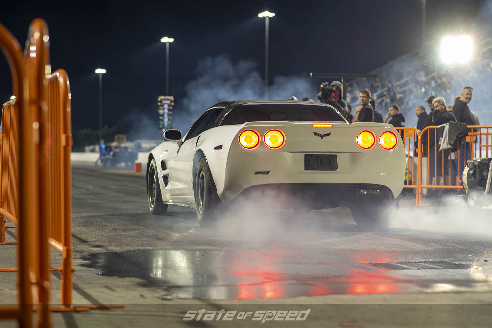 Corvette on the dragstrip at night